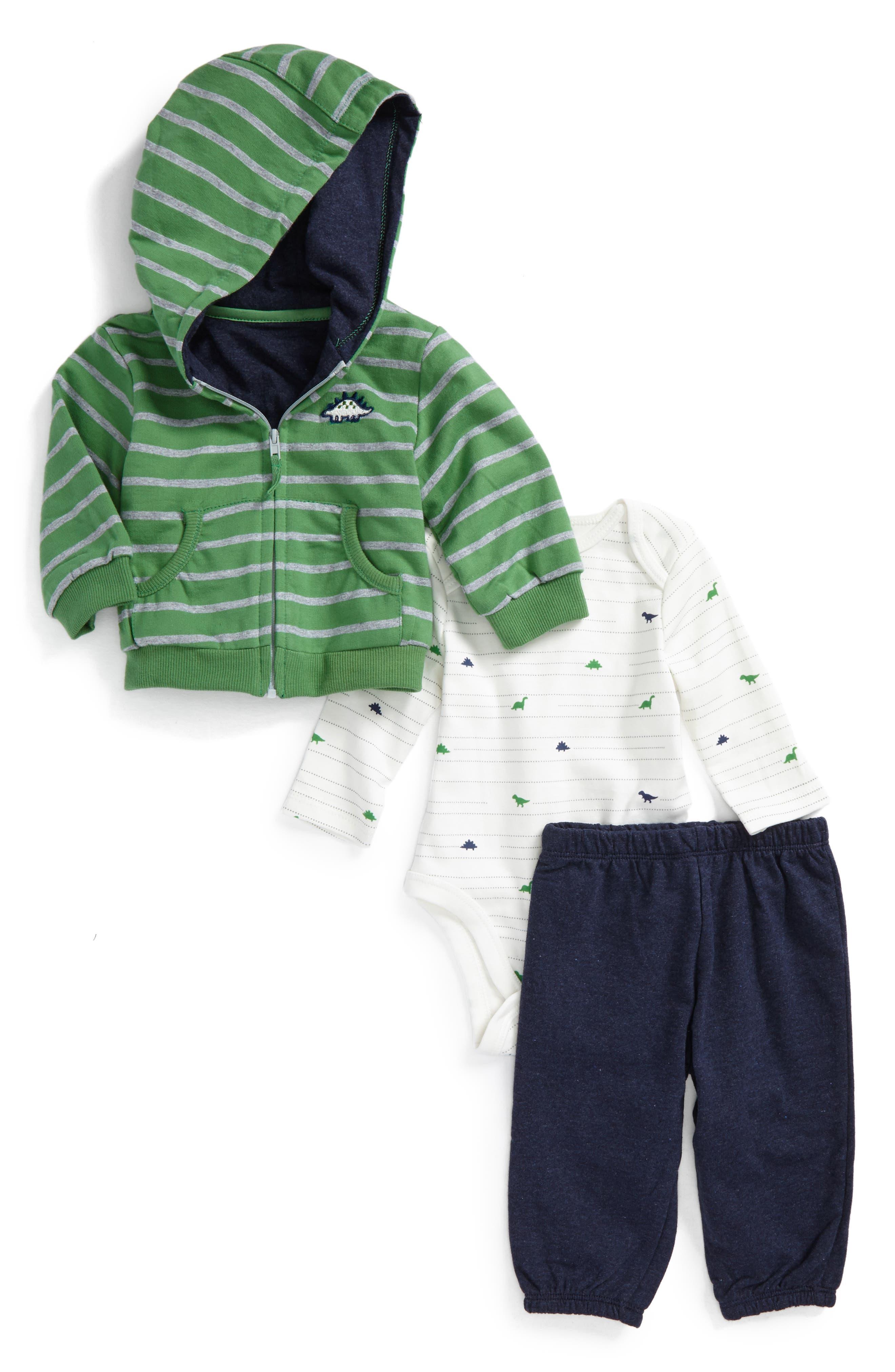 Main Image - Little Me Dino Hoodie, Bodysuit & Pants Set (Baby Boys)