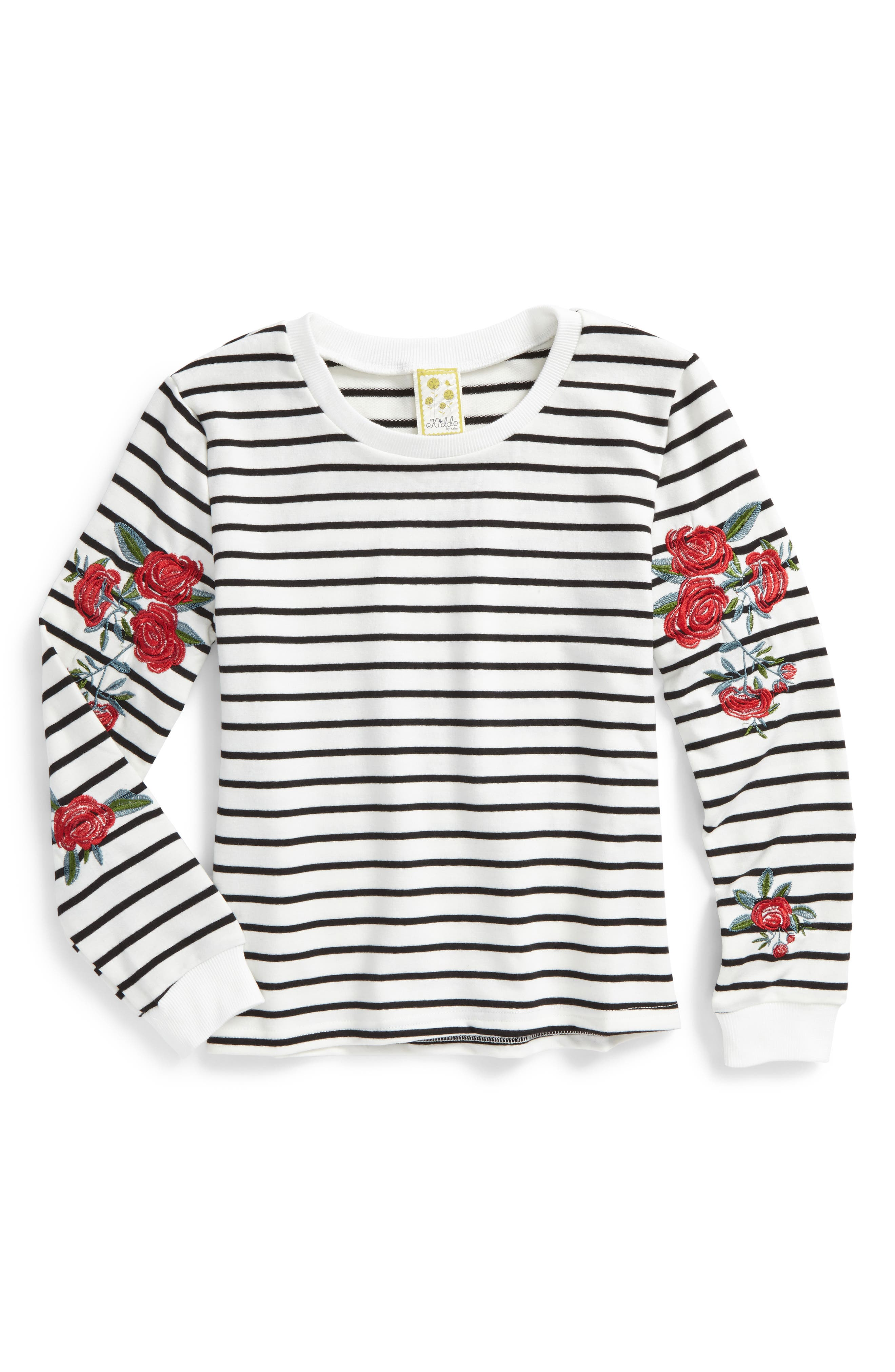 Kiddo Embroidered Stripe Sweatshirt (Big Girls)