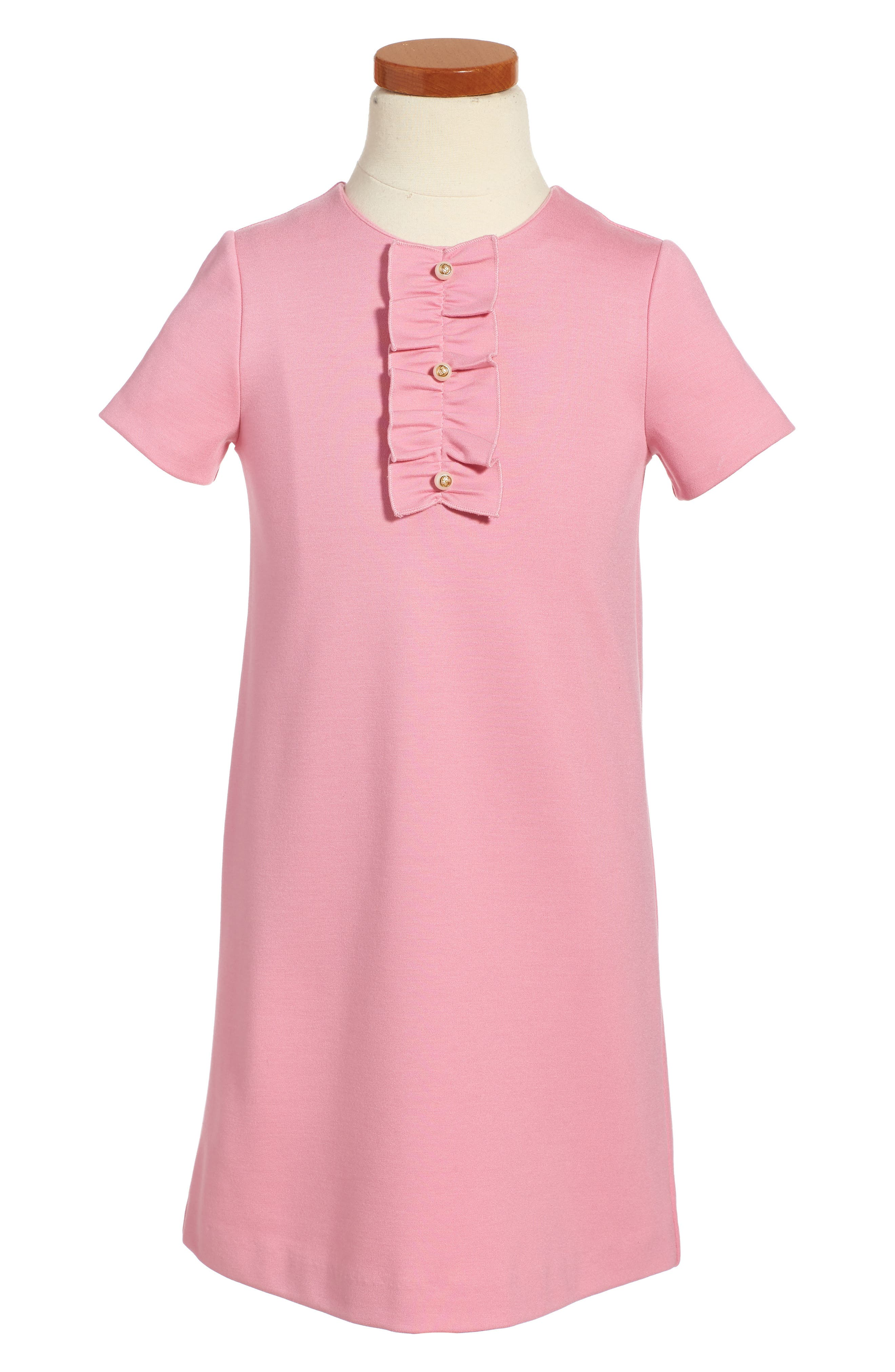 Ruffle Front Shift Dress,                             Main thumbnail 1, color,                             Sugar Pink