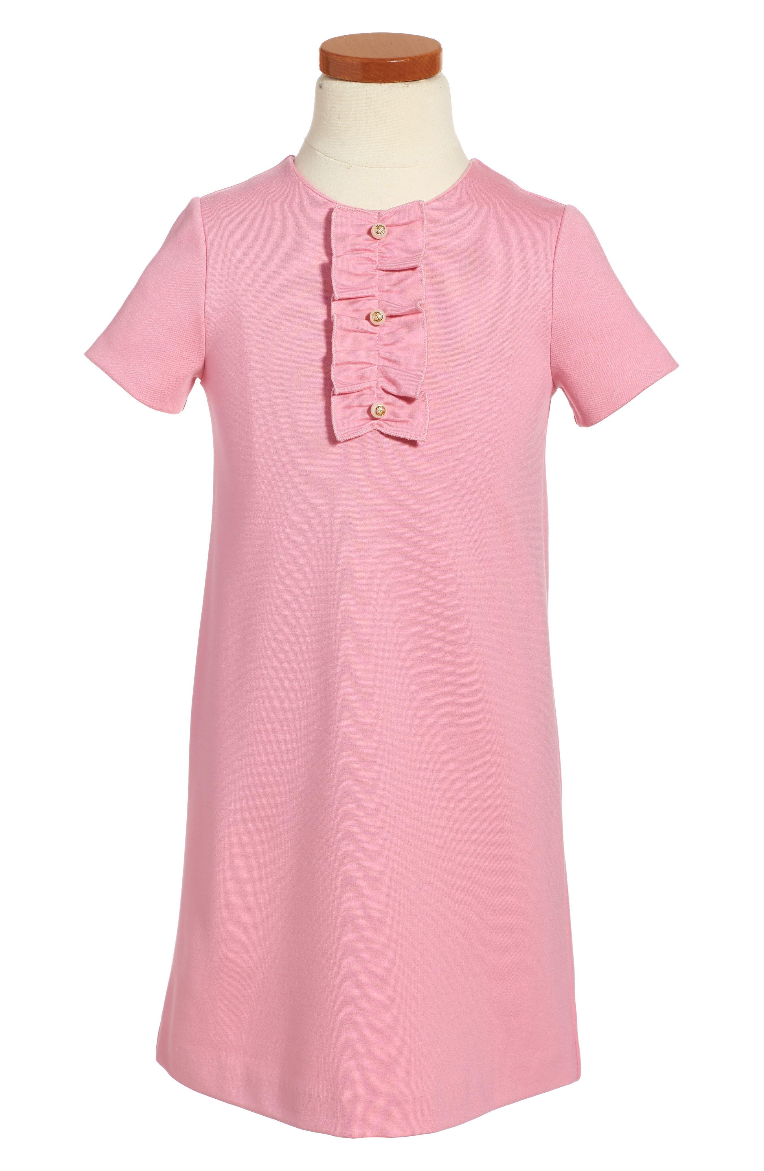 Main Image - Gucci Ruffle Front Shift Dress (Little Girls & Big Girls)