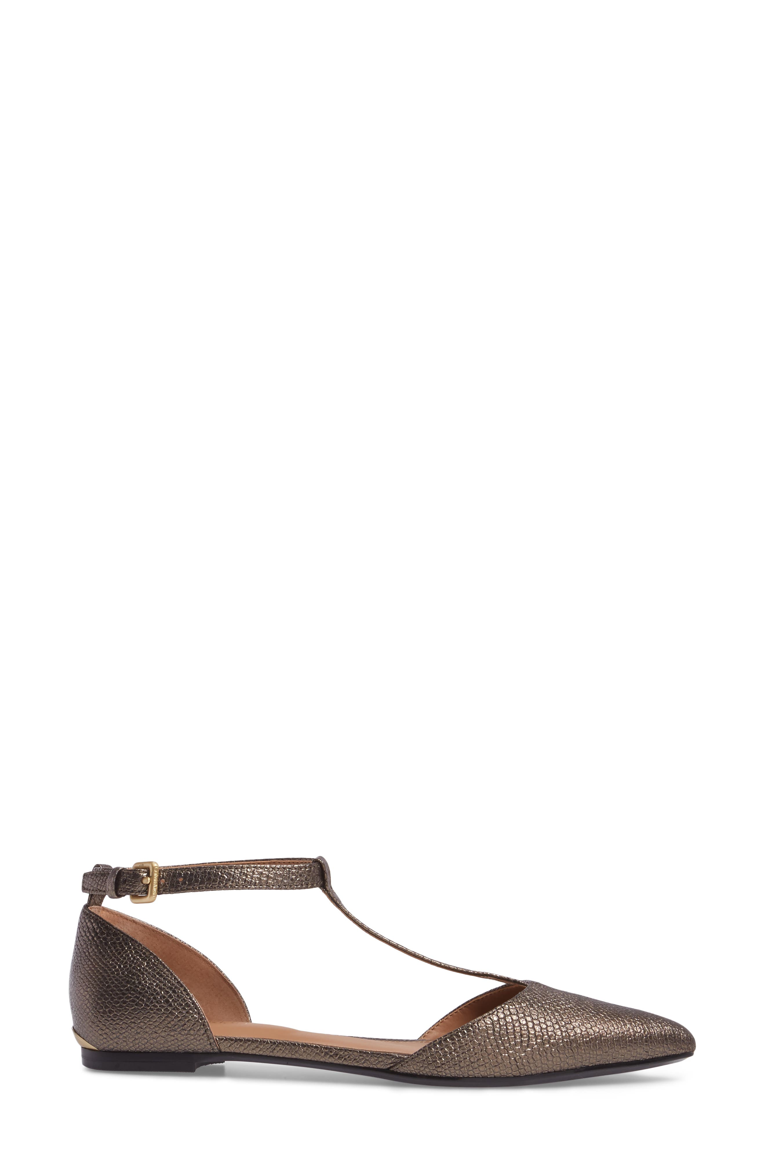'Ghita' T-Strap Flat,                             Alternate thumbnail 3, color,                             Gold Foiled Leather