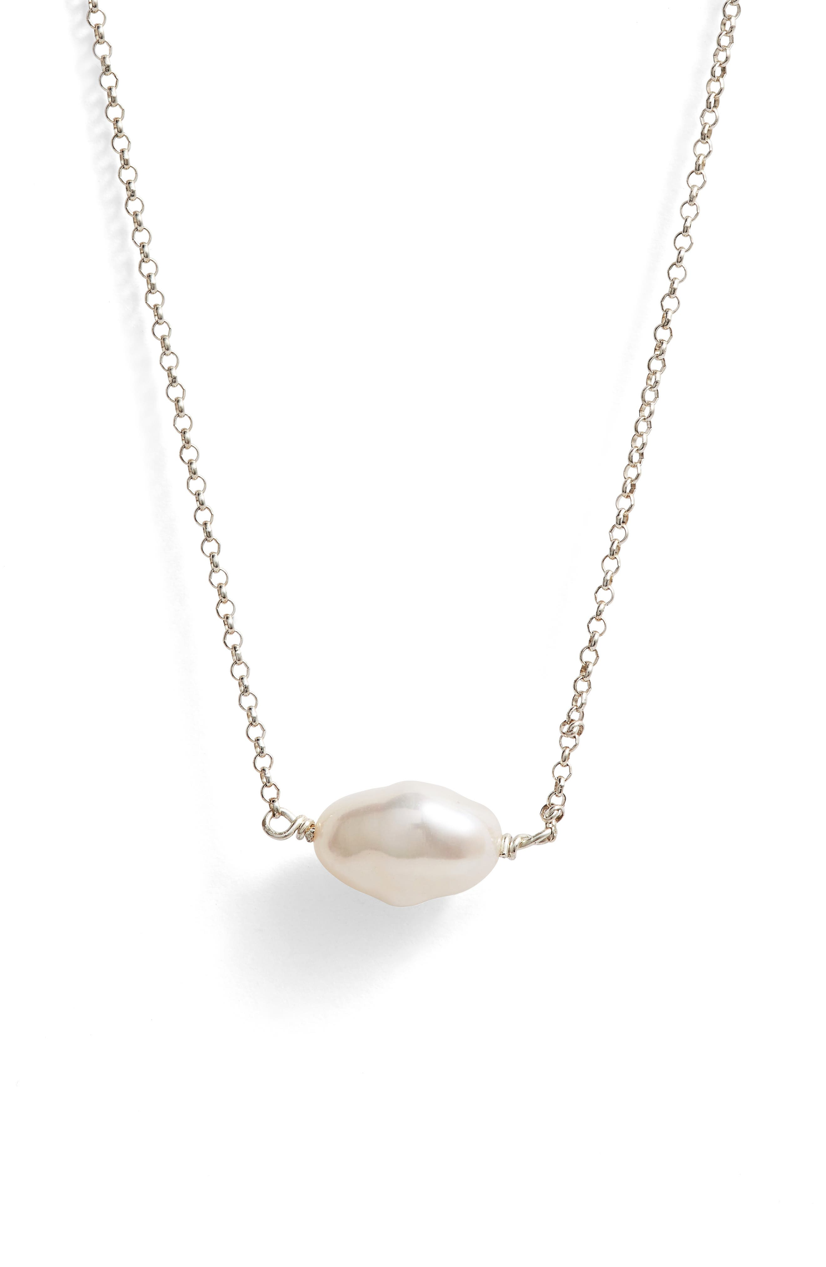 Keshi Cultured Pearl Necklace,                             Alternate thumbnail 3, color,                             Sterling Silver/ Pearl