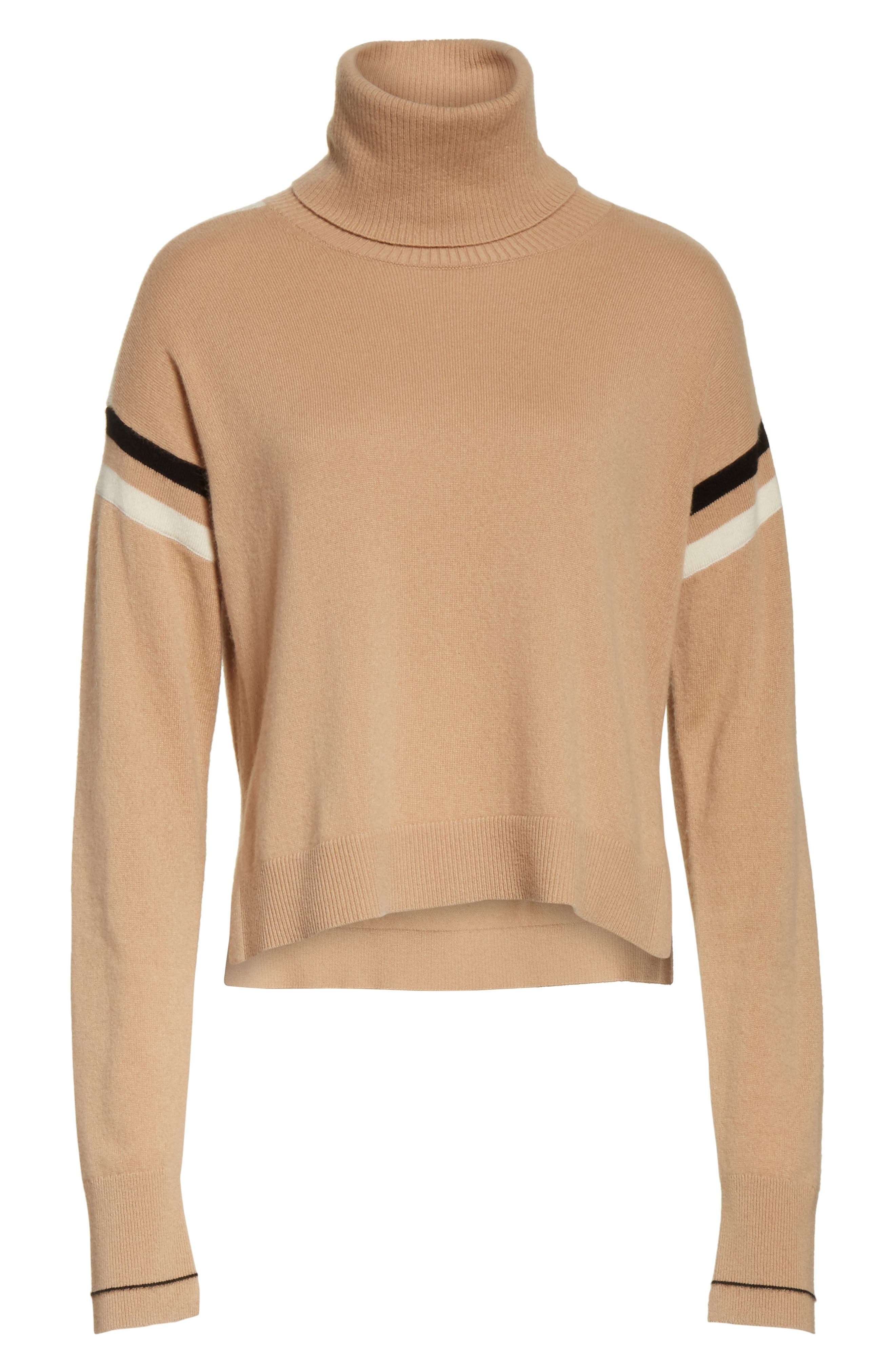 Canter Cashmere Turtleneck,                             Alternate thumbnail 6, color,                             Camel/ Ivory/ Black