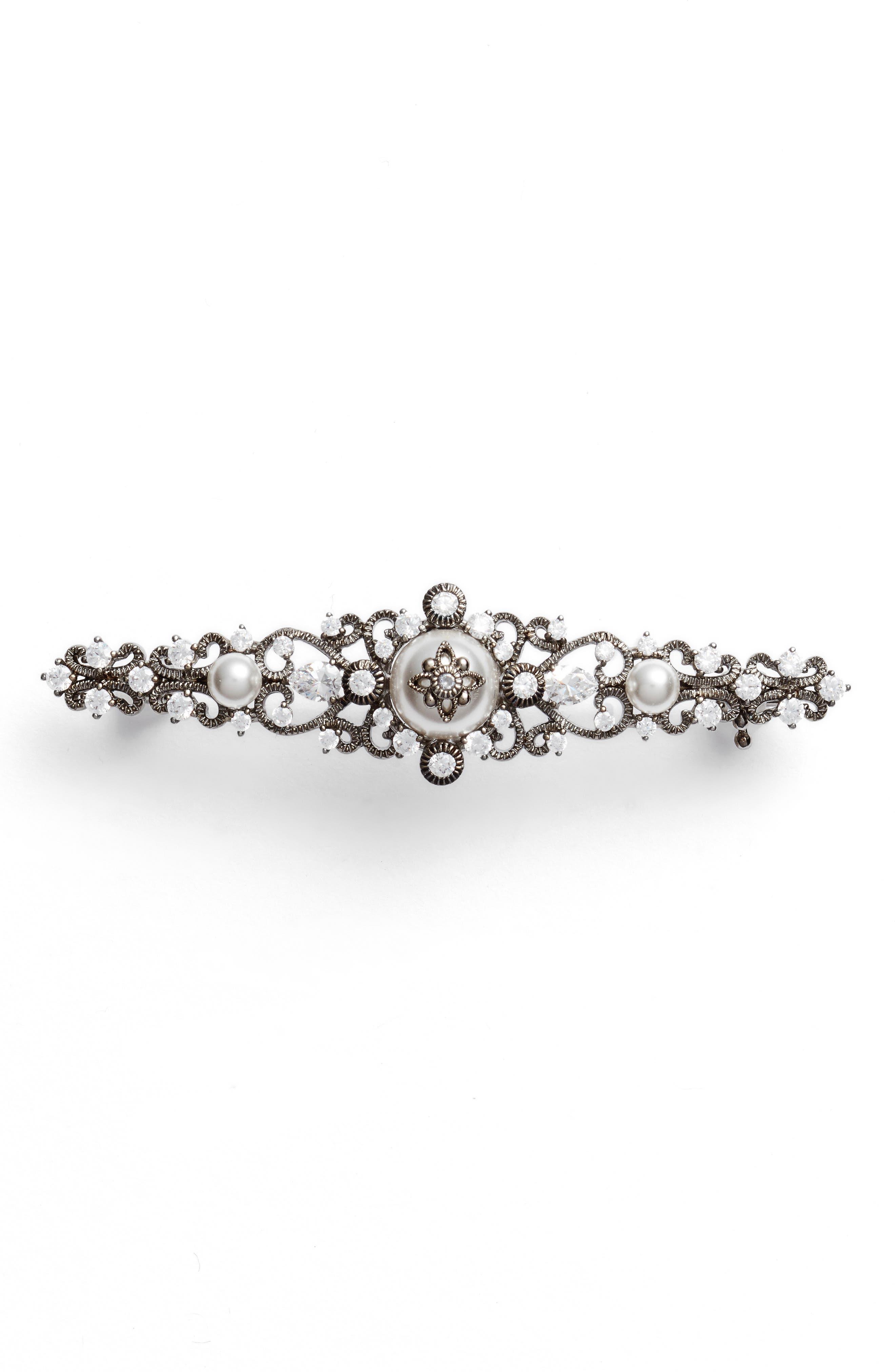 Main Image - Nadri Imitation Pearl & Crystal Pin