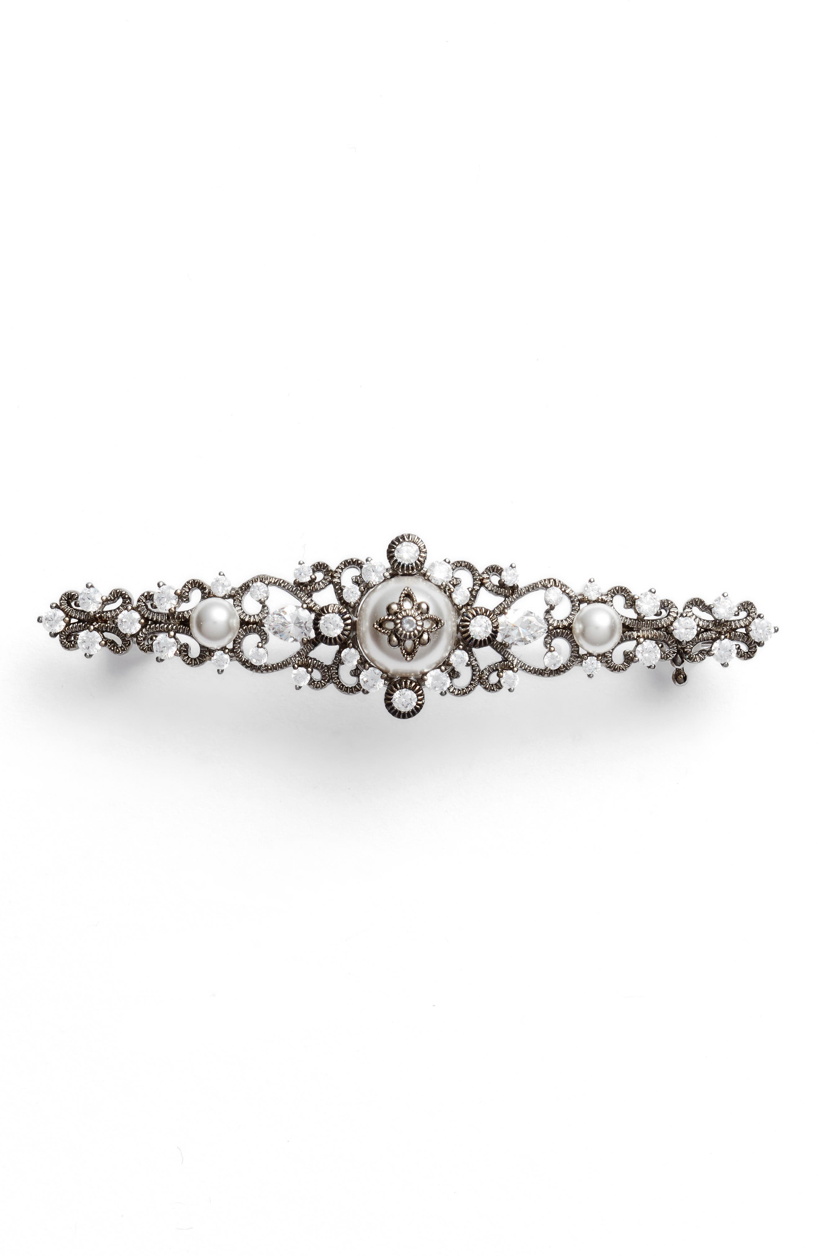 Nadri Imitation Pearl & Crystal Pin