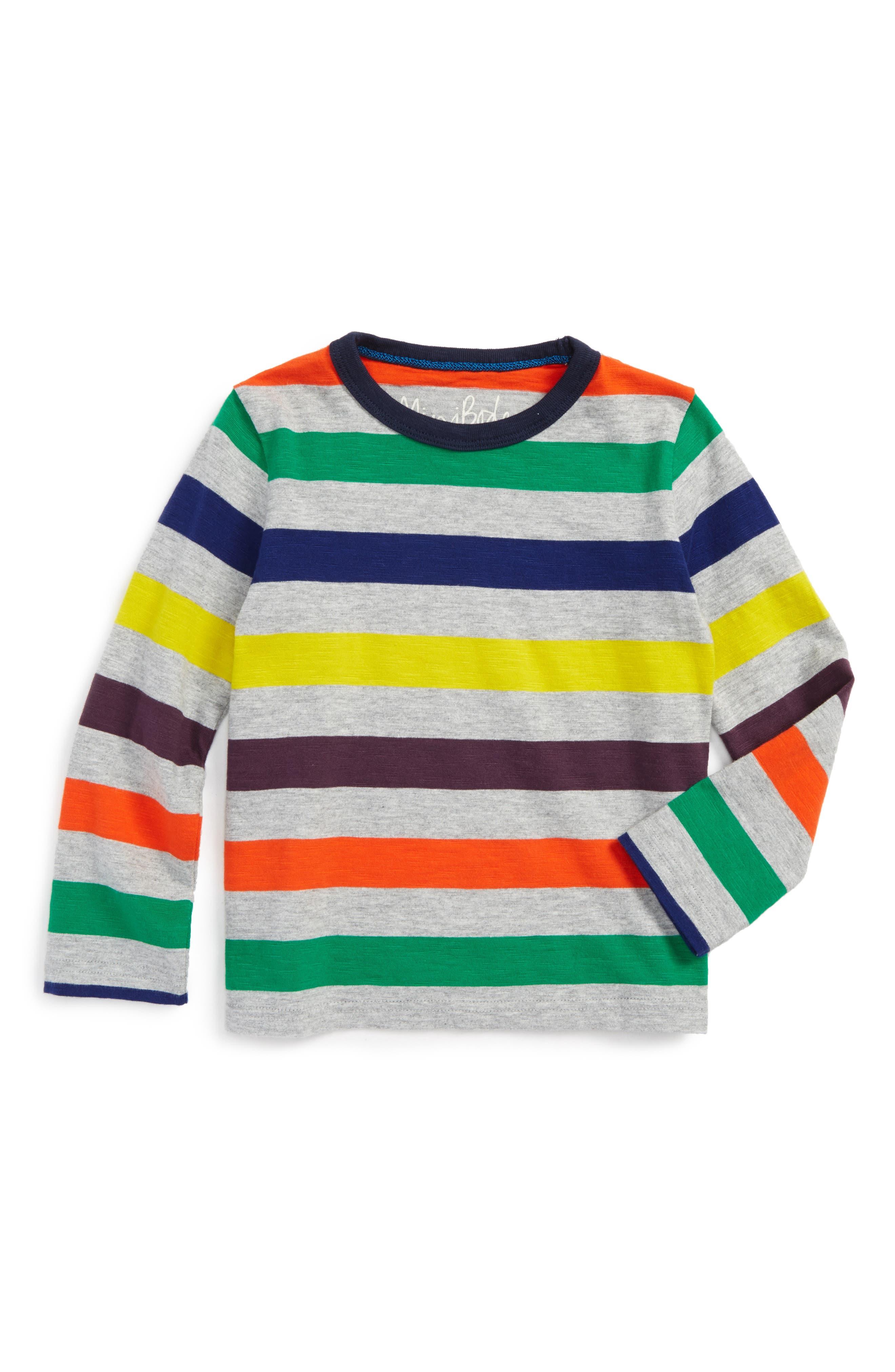Stripe Long Sleeve T-Shirt,                         Main,                         color, Grey Marl/ Multi