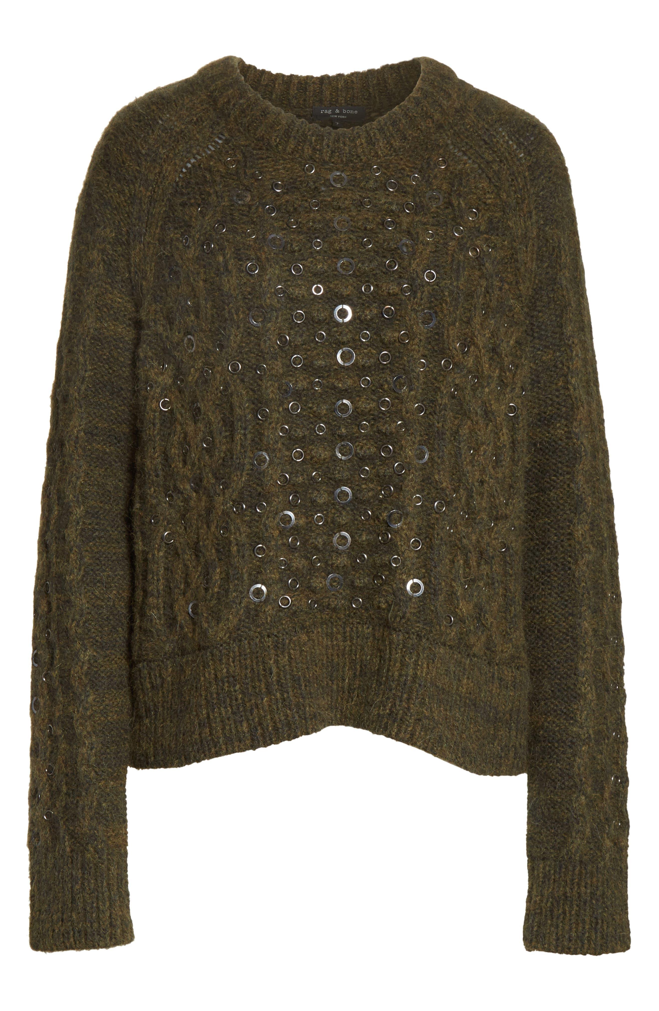 Jemima Wool & Alpaca Blend Beaded Sweater,                             Alternate thumbnail 6, color,                             Army
