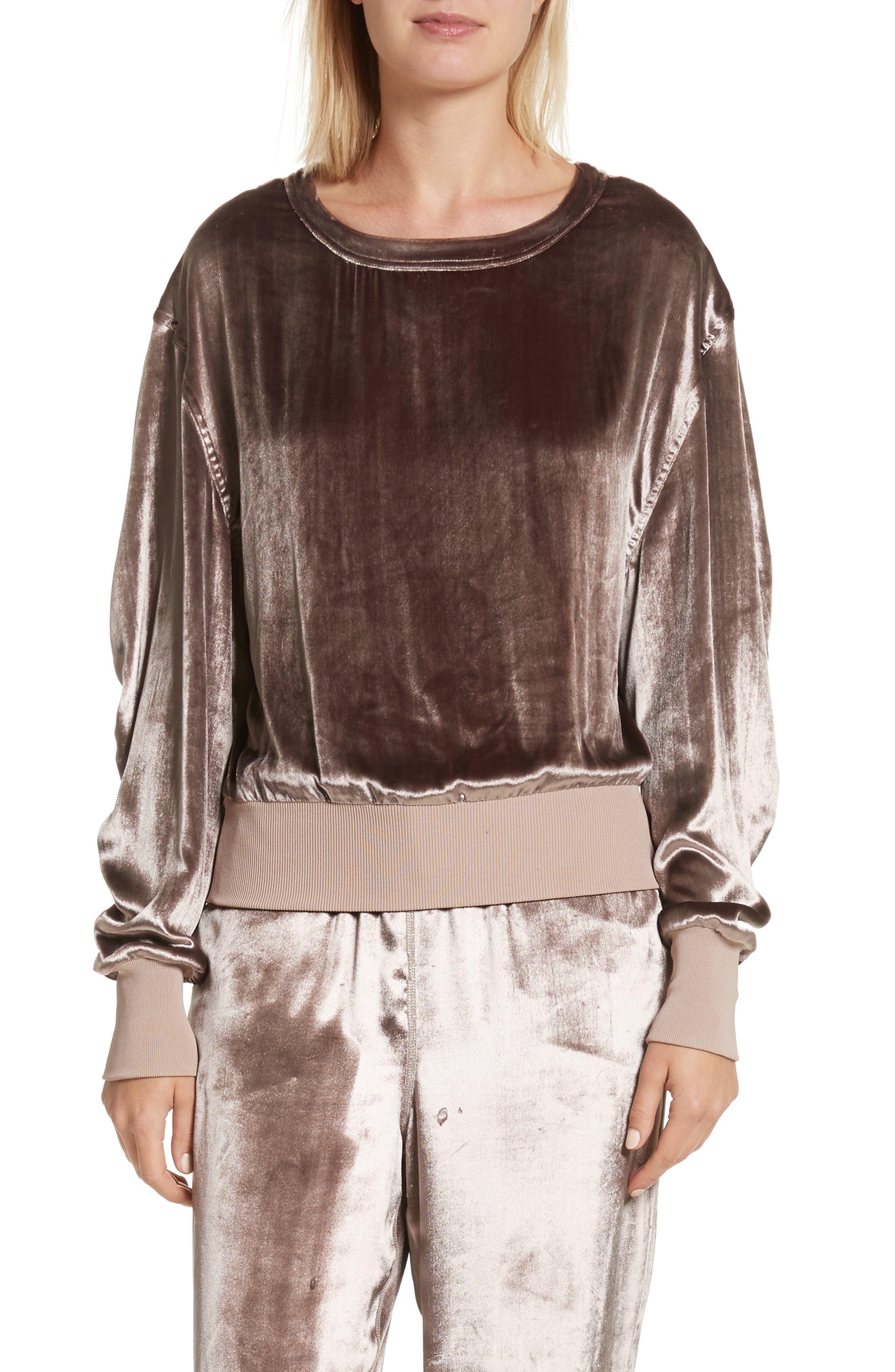 Velvet Sweatshirt,                         Main,                         color, Mauve