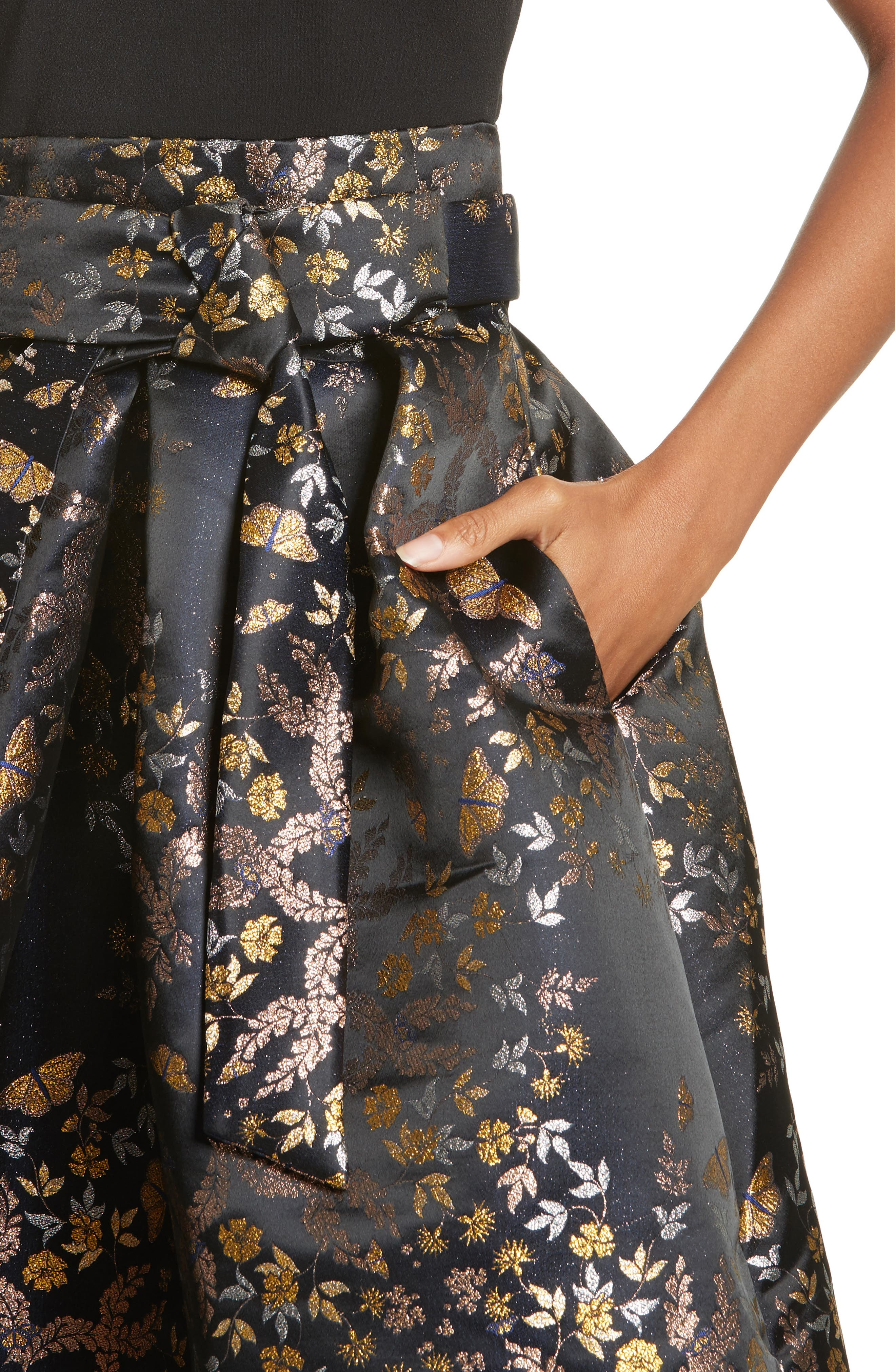 Dotalle Kyoto Garden Jacquard Midi Dress,                             Alternate thumbnail 4, color,                             Black