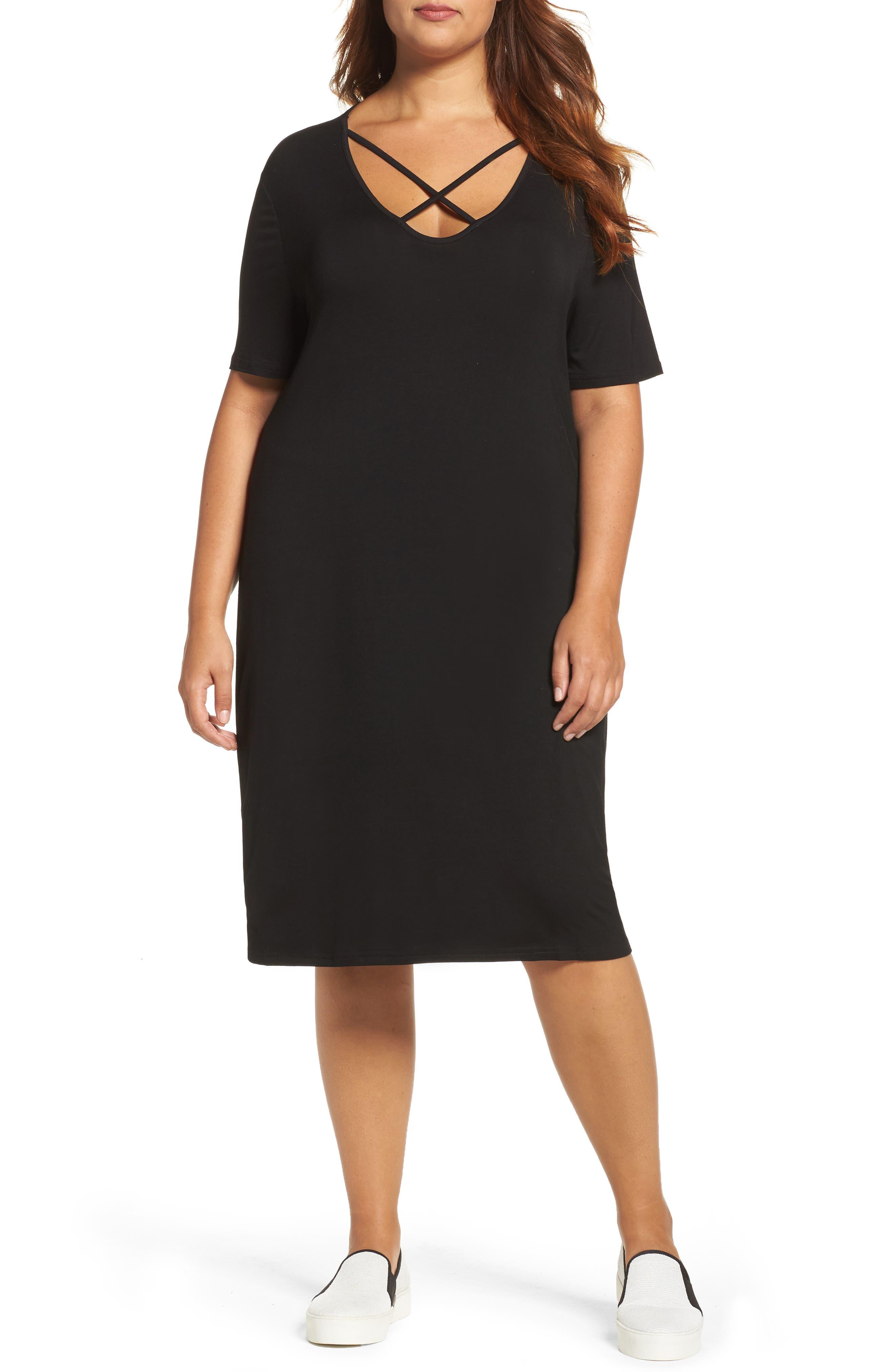 Crisscross Neck T-Shirt Dress,                             Main thumbnail 1, color,                             Black