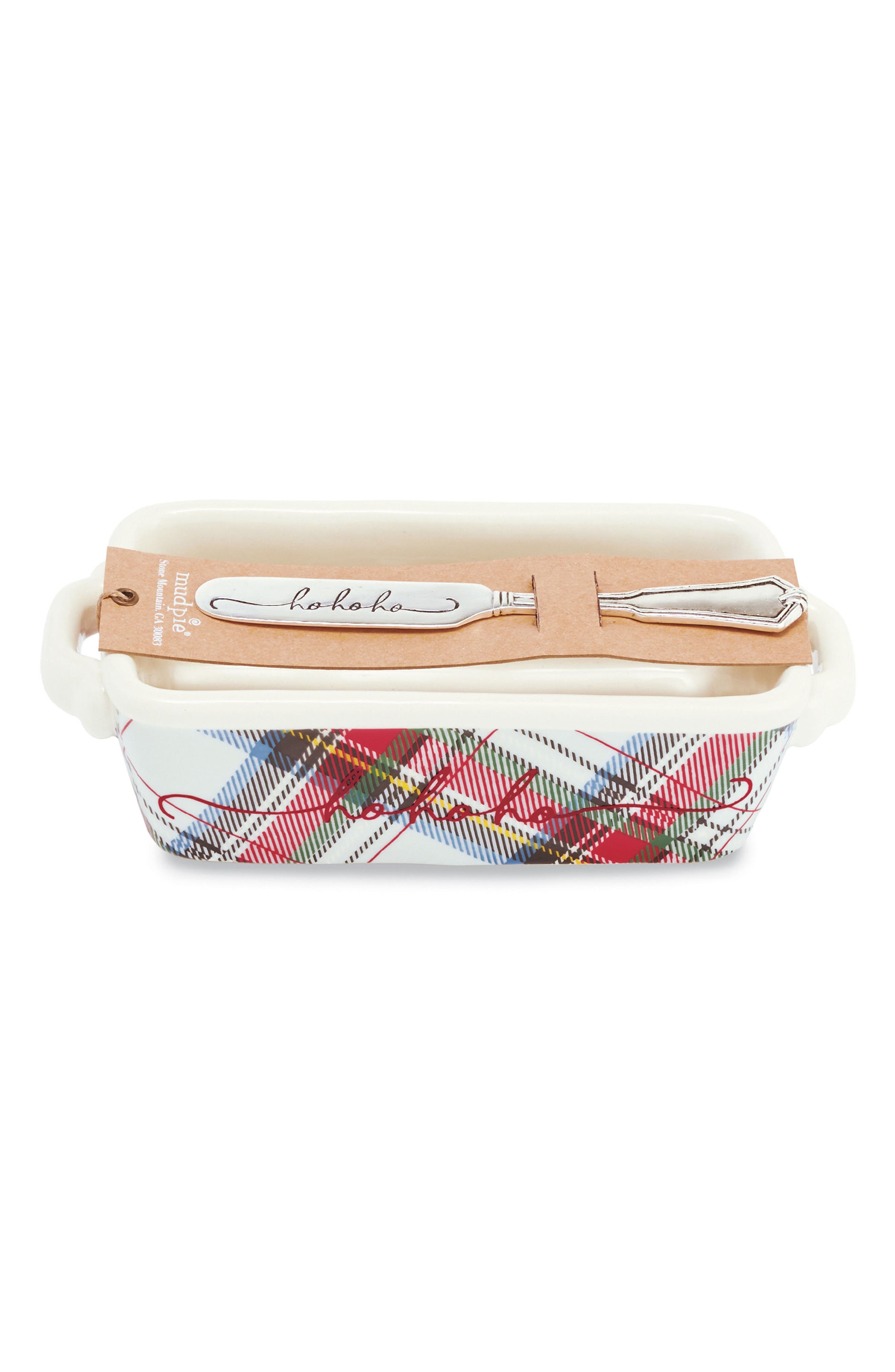 Mud Pie Ho Ho Ho Tartan Stoneware Mini Loaf Pan & Spreader