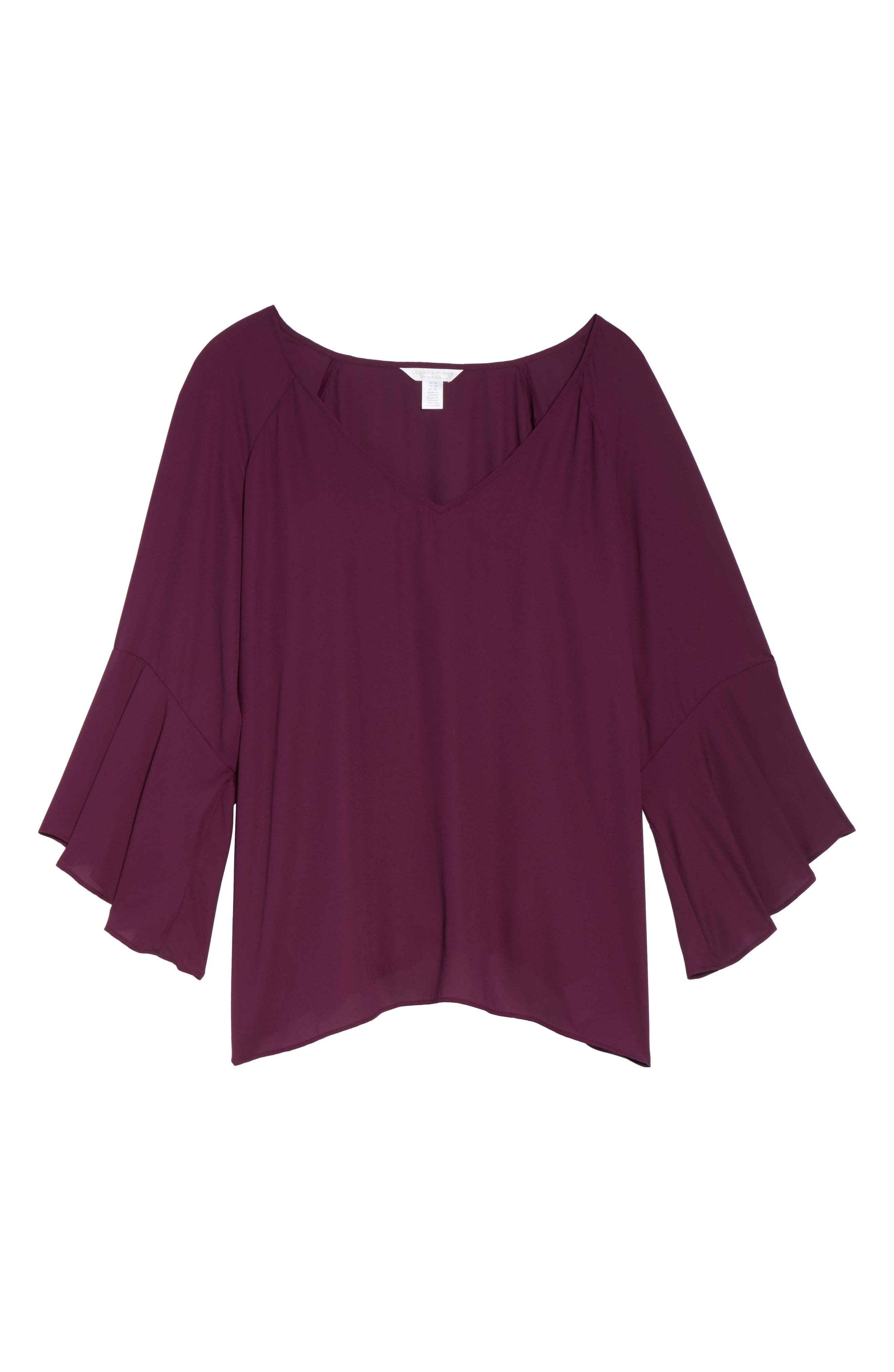 Bell Sleeve Blouse,                             Alternate thumbnail 6, color,                             Eggplant