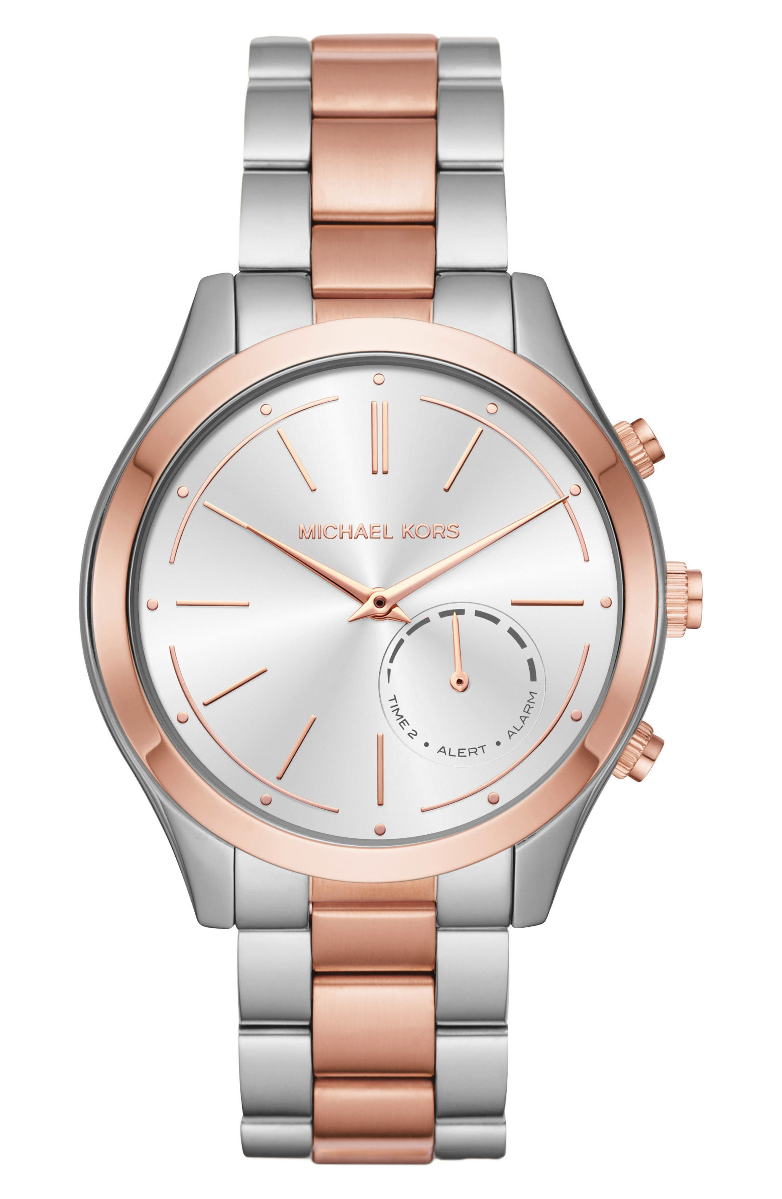 MICHAEL Michael Kors Slim Runway Smart Watch, 42mm,                             Main thumbnail 1, color,                             Silver/ Rose Gold
