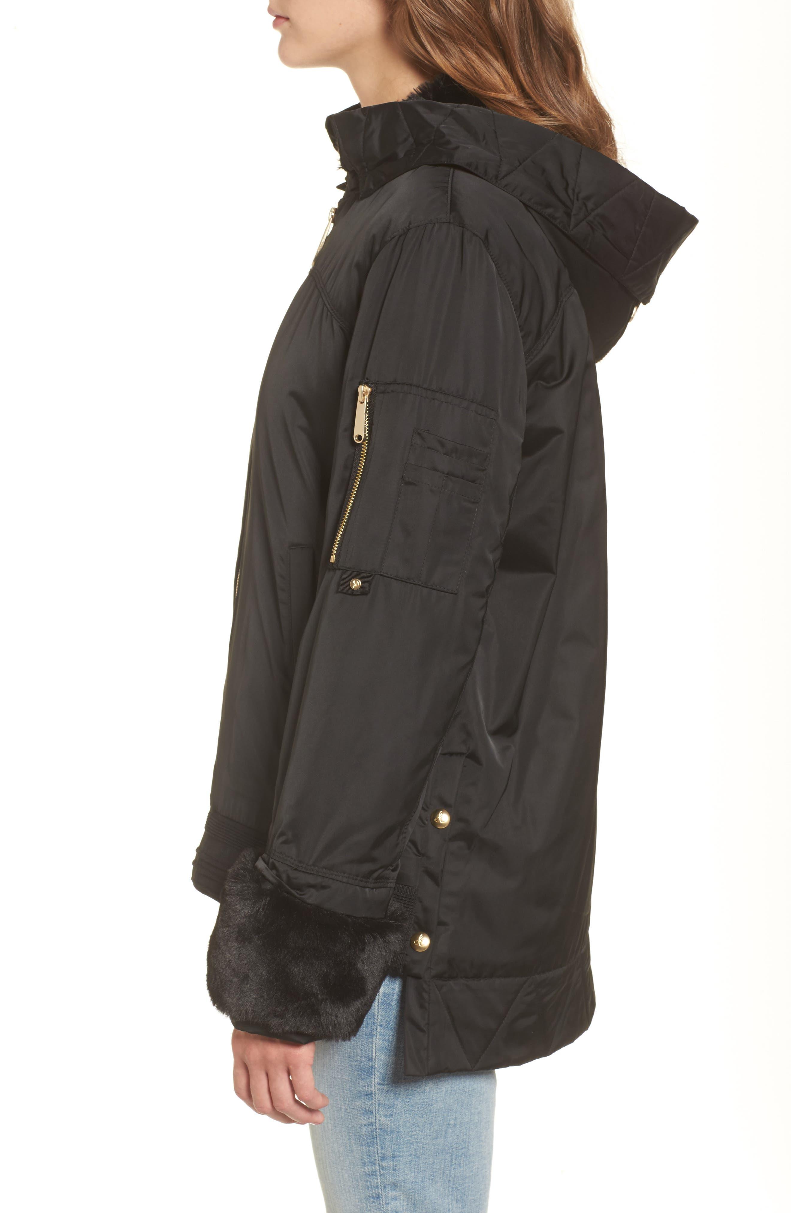 Faux Fur Trim Military Jacket,                             Alternate thumbnail 4, color,                             Black