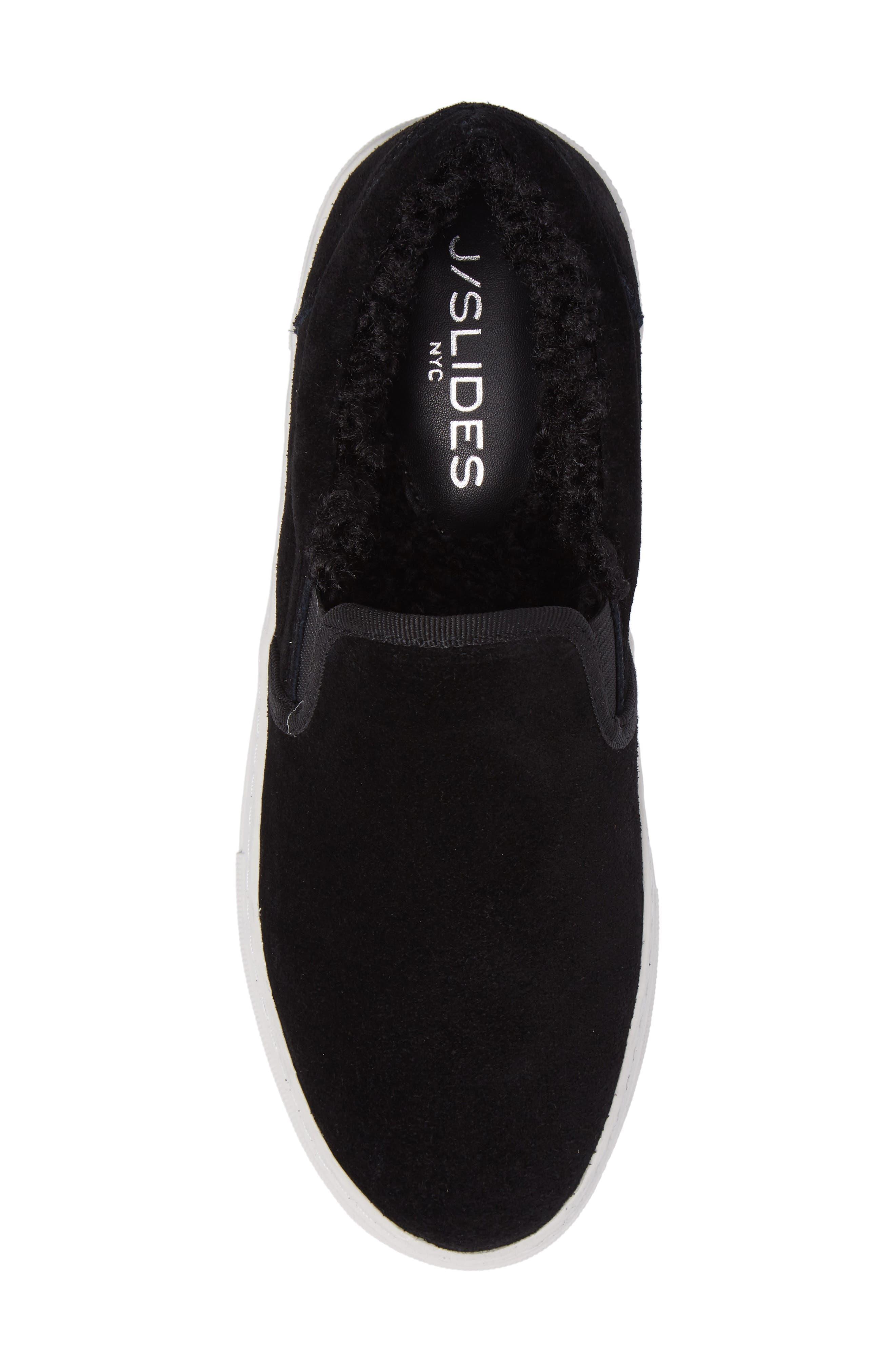 Arpel Faux Fur Lined Slip-On Sneaker,                             Alternate thumbnail 5, color,                             Black Suede