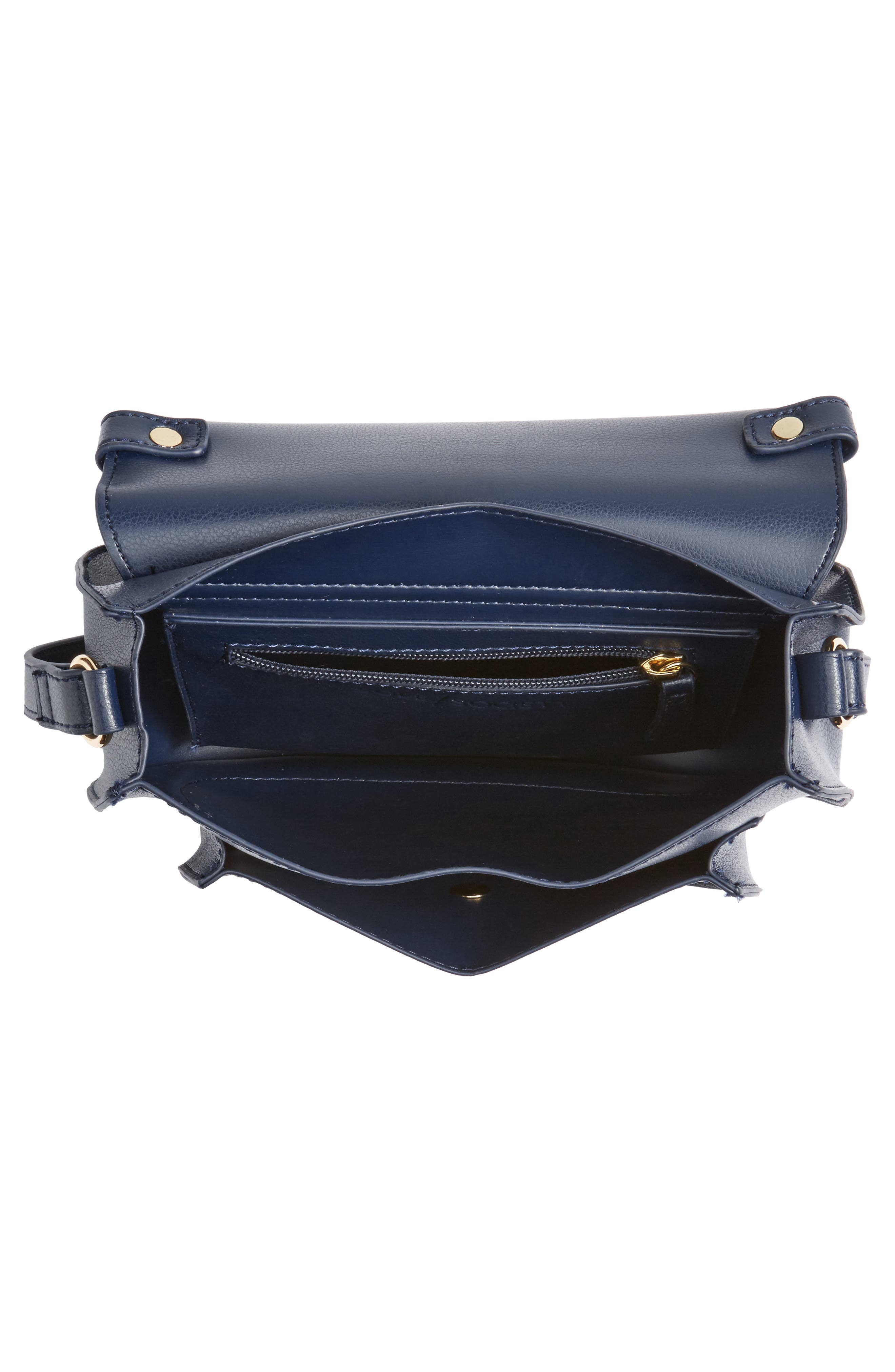 Faux Leather Crossbody Bag,                             Alternate thumbnail 4, color,                             Midnight