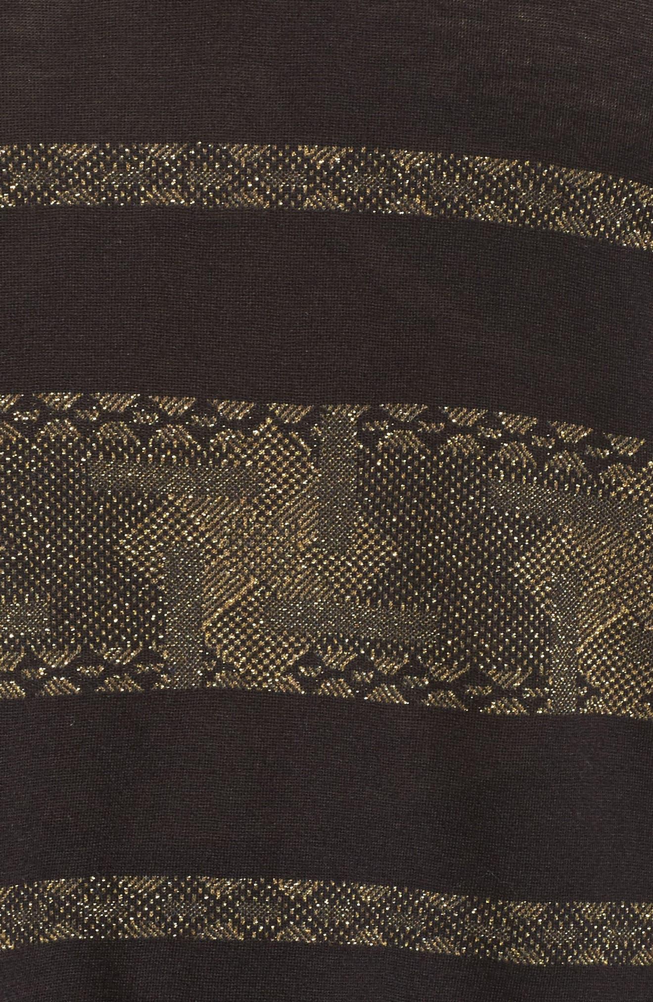 Alternate Image 5  - Lucky Brand Metallic Stripe Tee (Plus Size)
