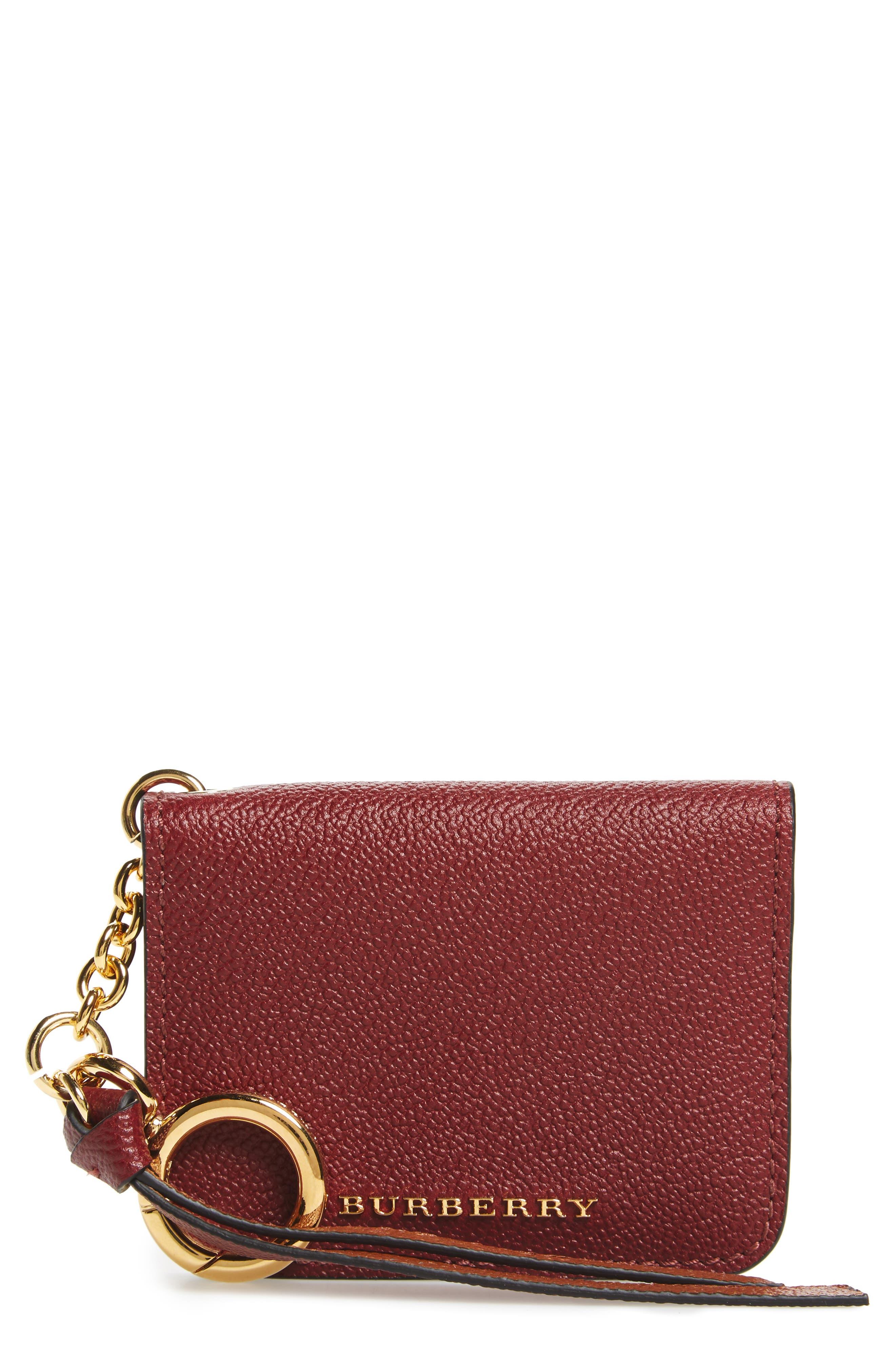 Camberwellid Leather Card Case Bag Charm,                         Main,                         color, Burgundy /Multi