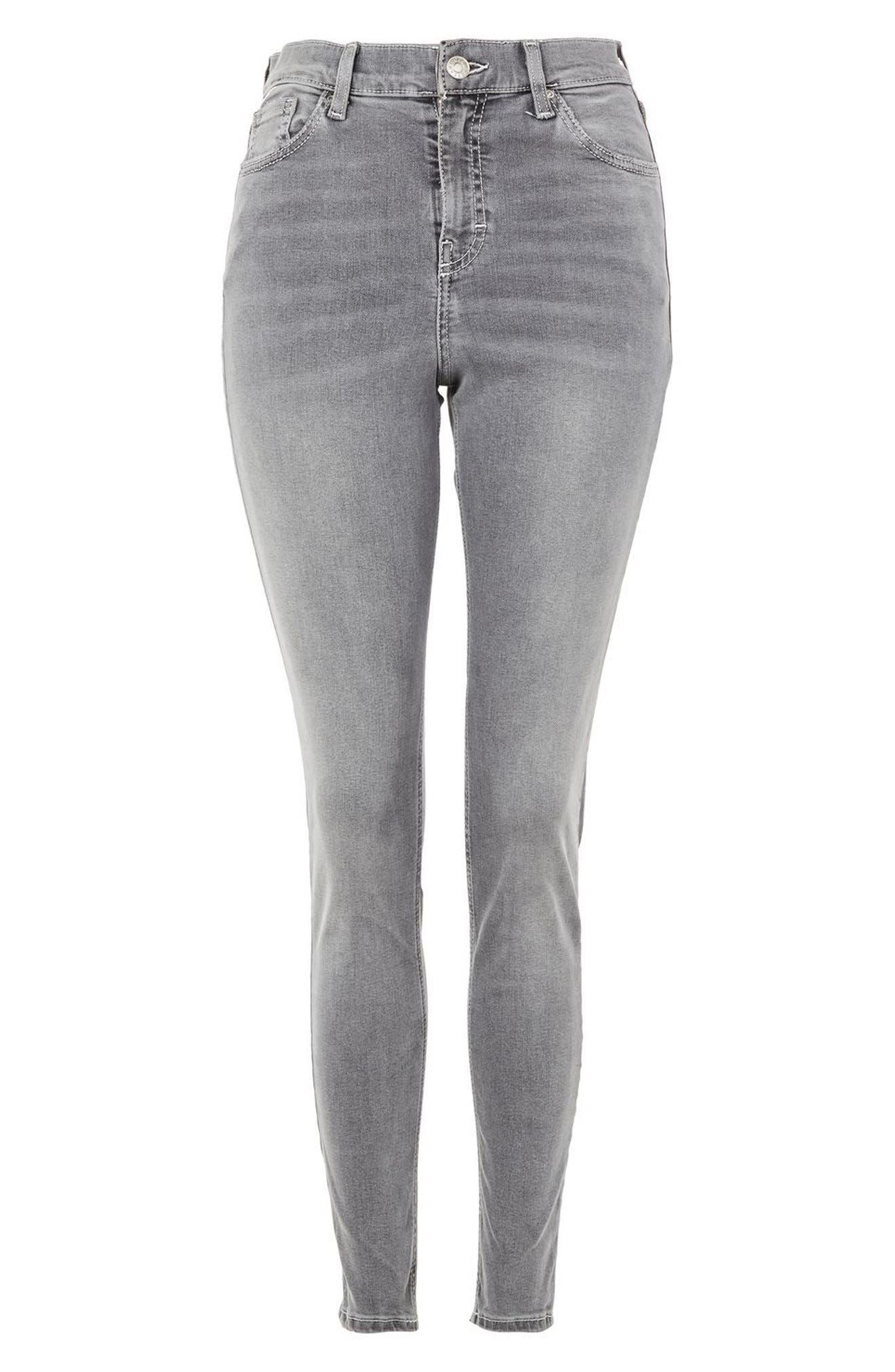 Jamie High Waist Ankle Skinny Jeans,                             Alternate thumbnail 4, color,                             Grey