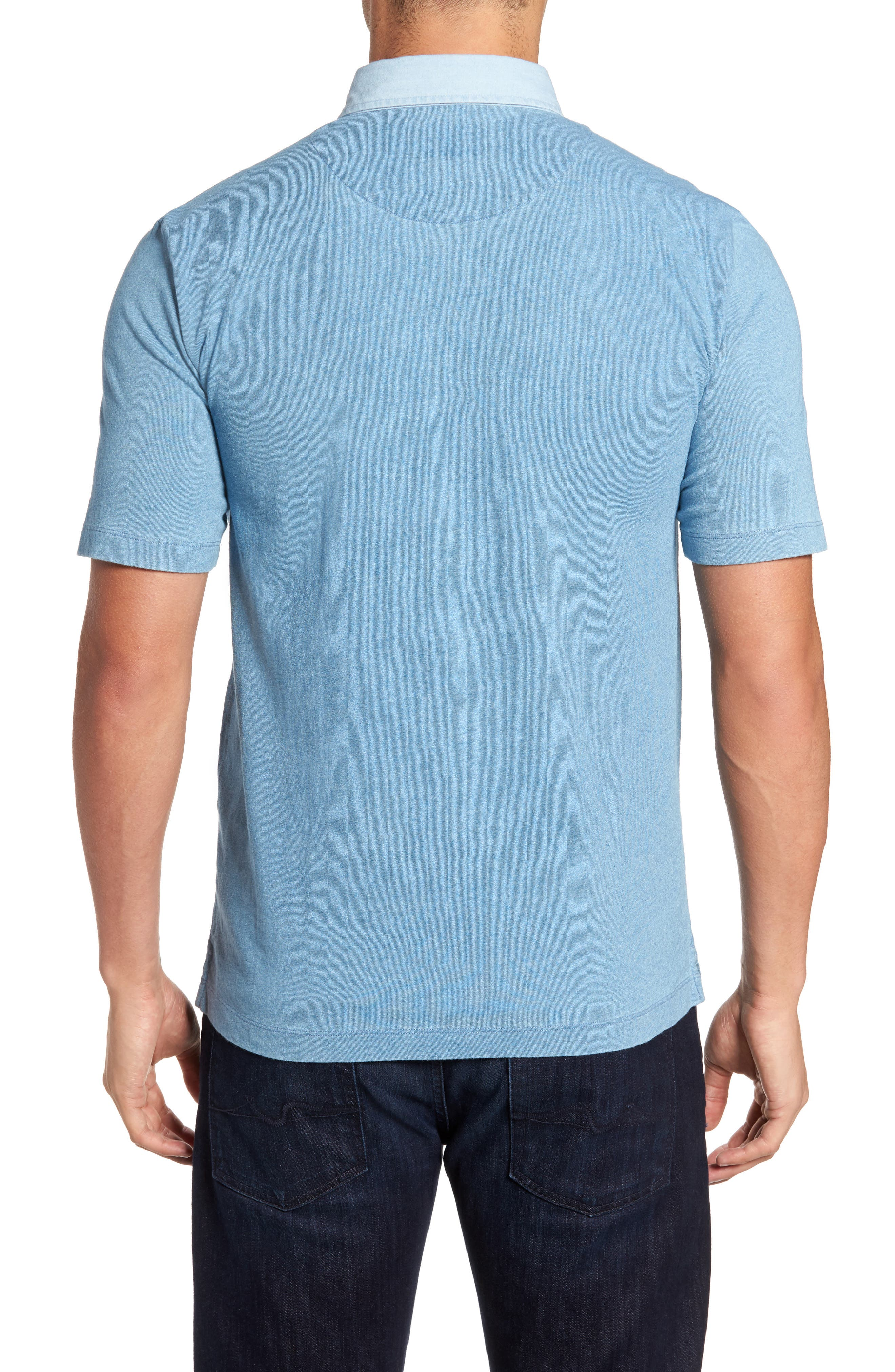 Alternate Image 2  - Thomas Dean Denim Trim Jersey Polo