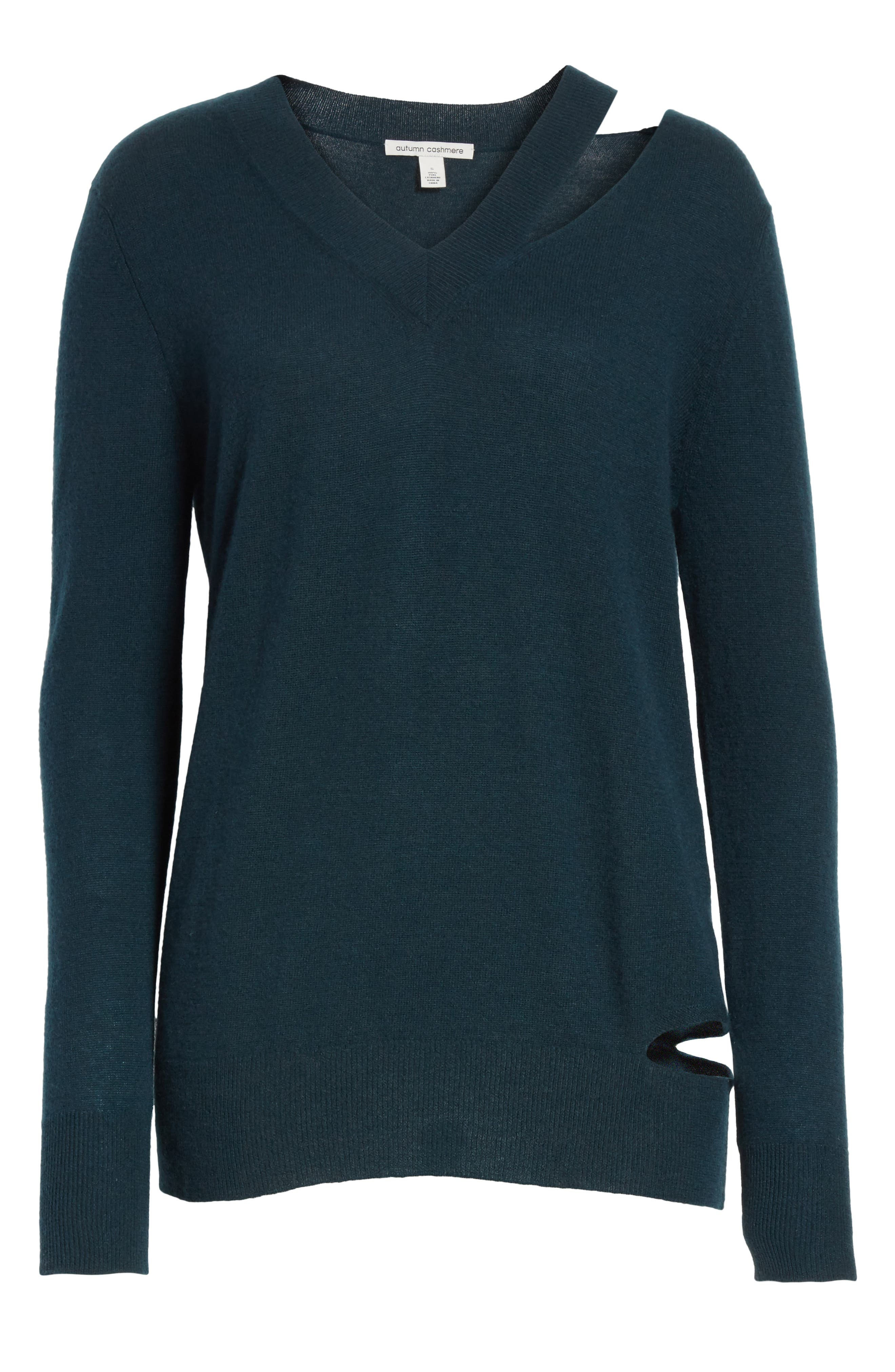 Cashmere Slash Boyfriend Sweater,                             Alternate thumbnail 5, color,                             Juniper