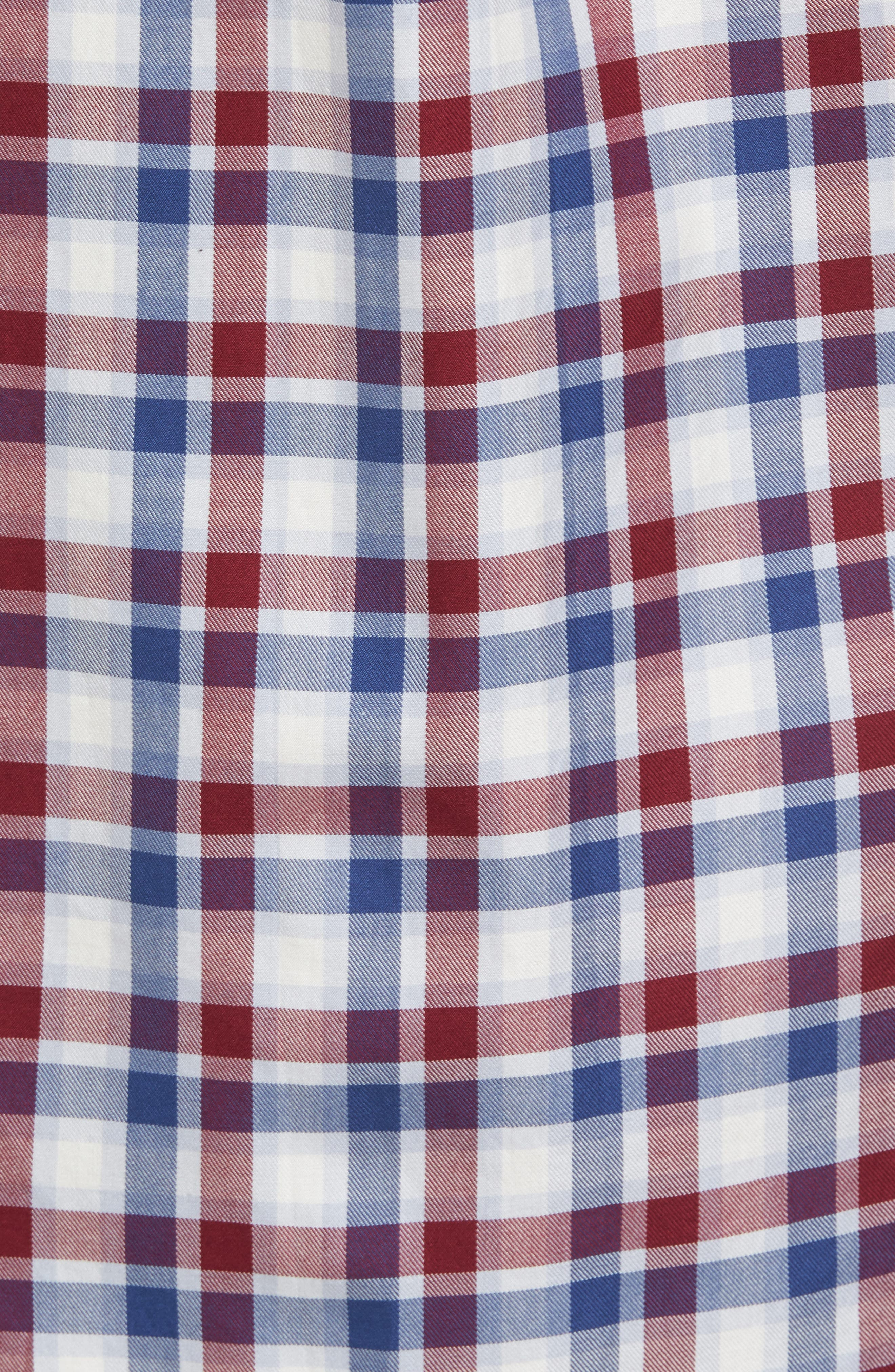 Classic Fit French Quarter Plaid Sport Shirt,                             Alternate thumbnail 5, color,                             Red Wine