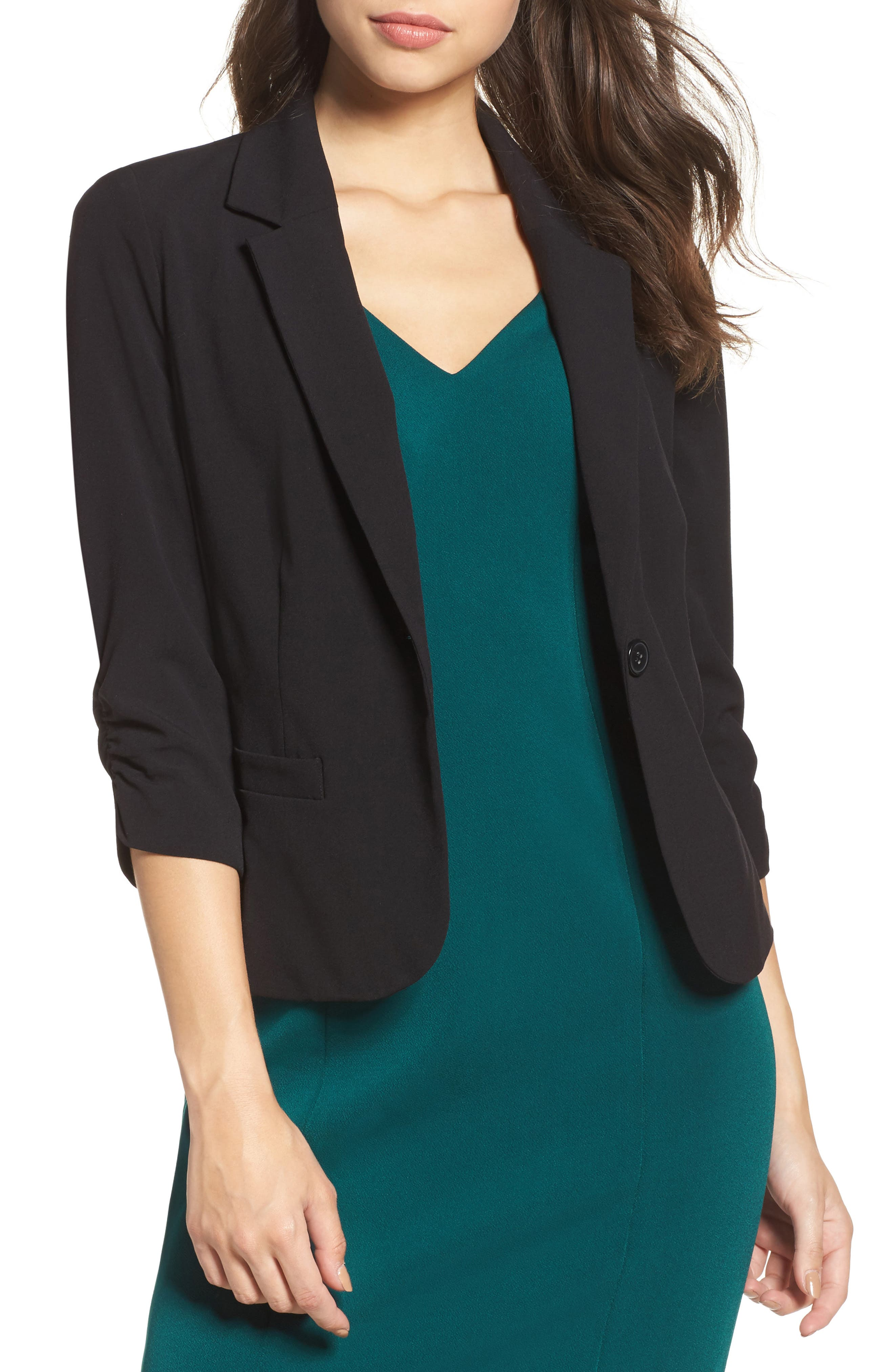 Ruched Sleeve Blazer,                         Main,                         color, Black