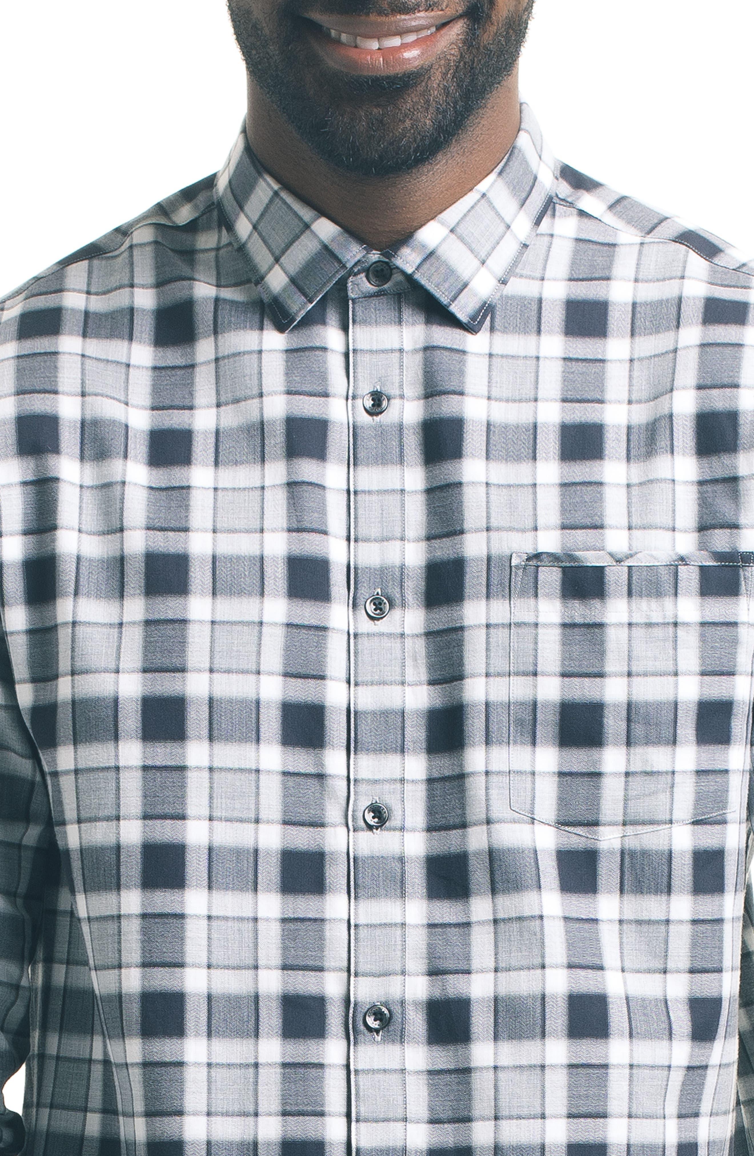 Herringbone Check Sport Shirt,                             Alternate thumbnail 4, color,                             Grey