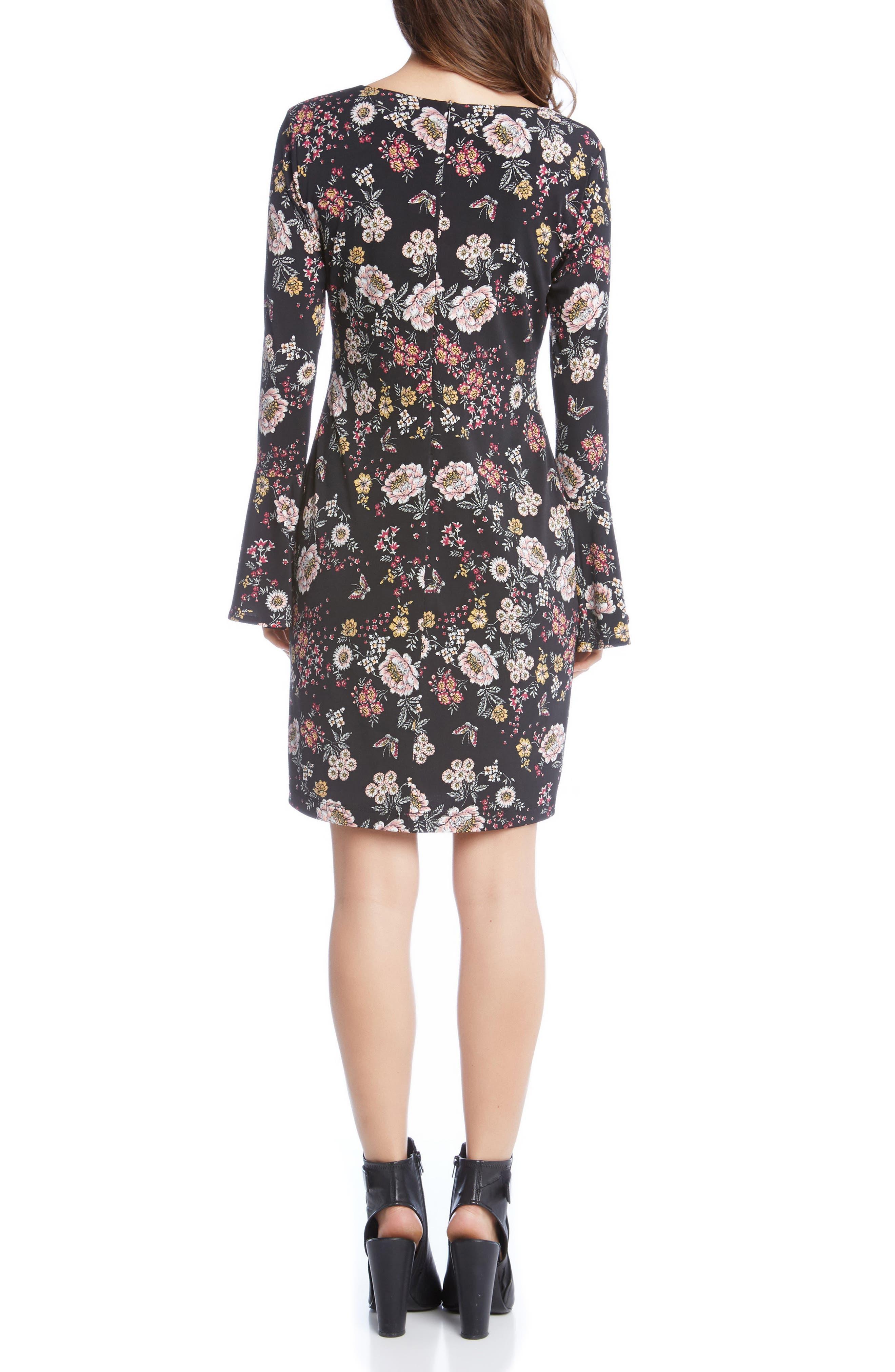 Alternate Image 2  - Karen Kane Floral V-Neck Bell Sleeve Dress