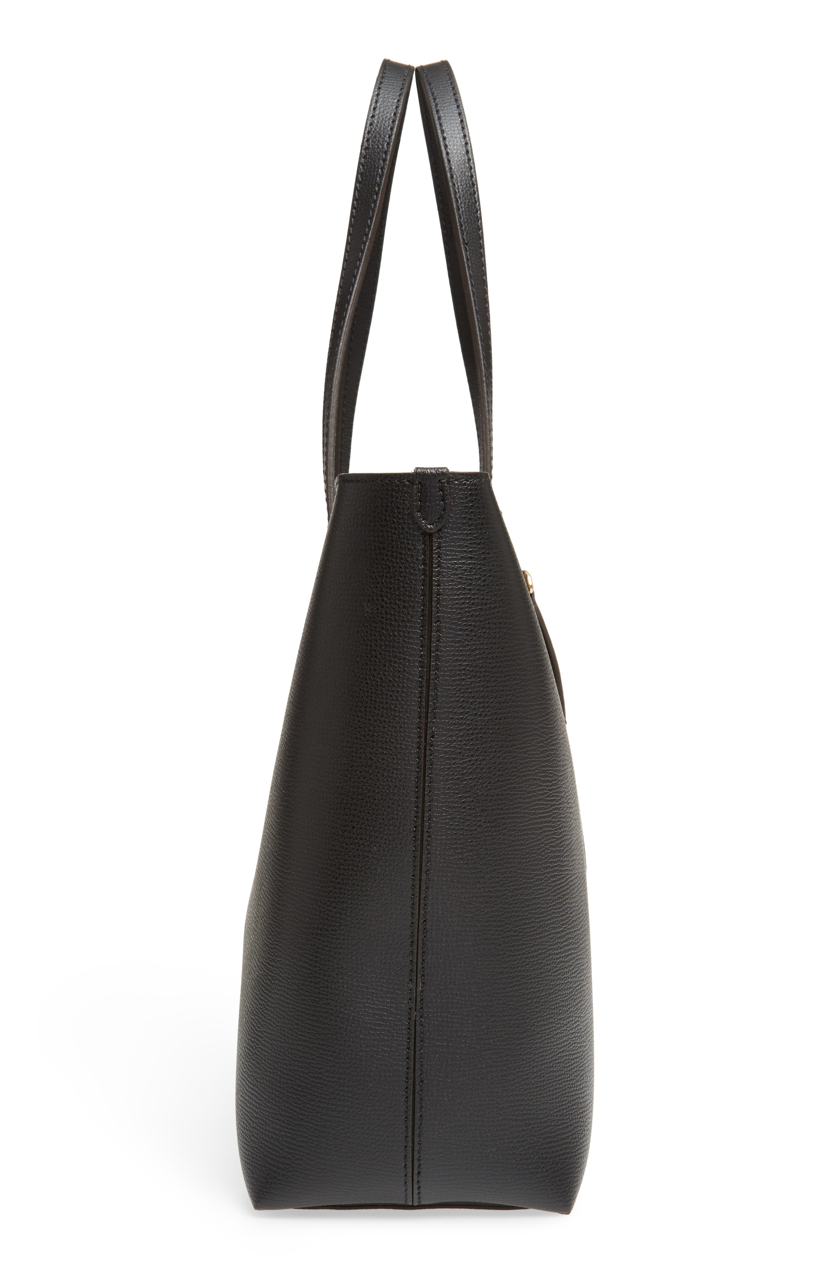 Calfskin Leather Tote,                             Alternate thumbnail 4, color,                             Black