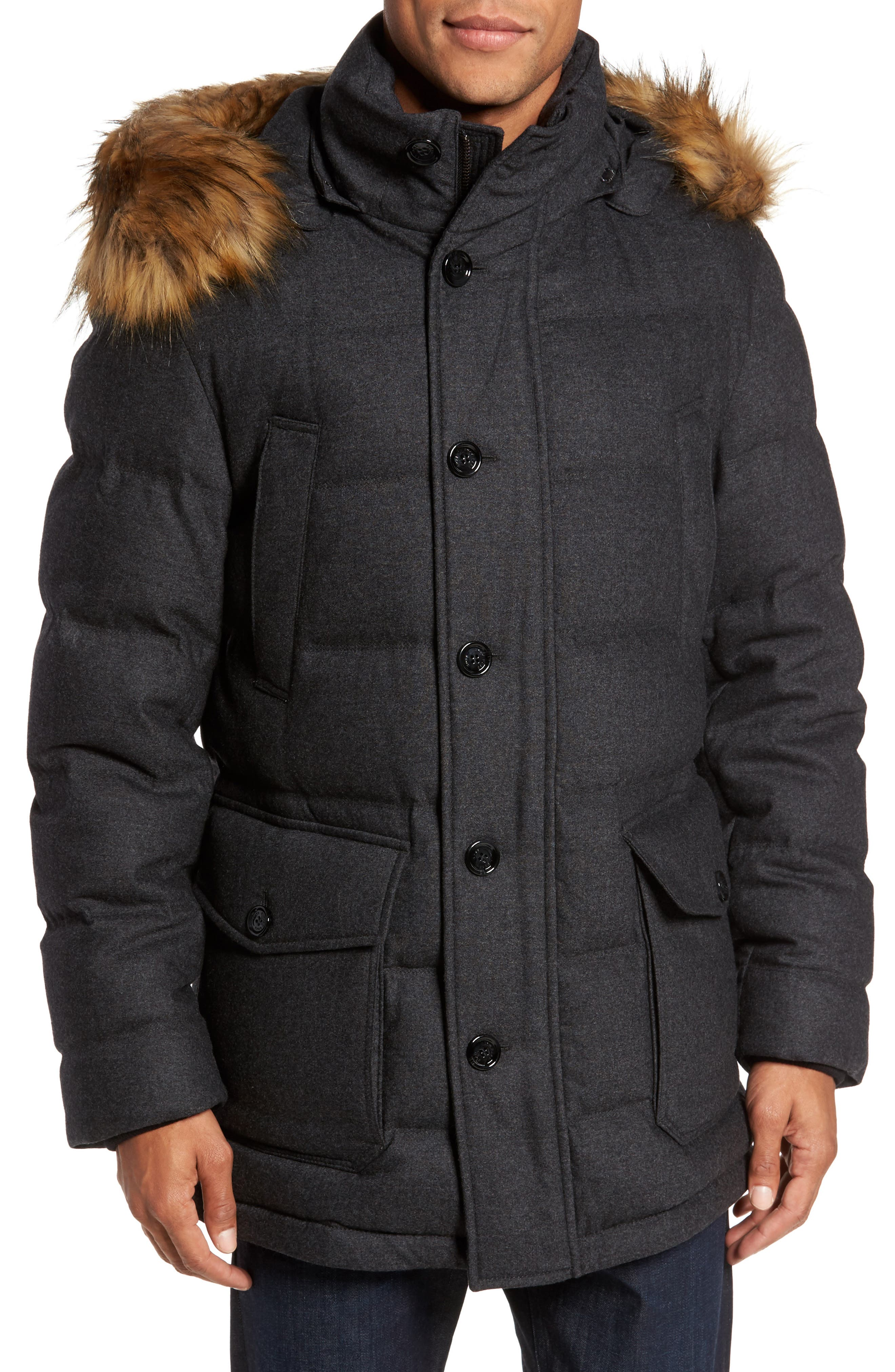 BOSS T-Delta Relaxed Technical Down Jacket with Faux Fur Trim