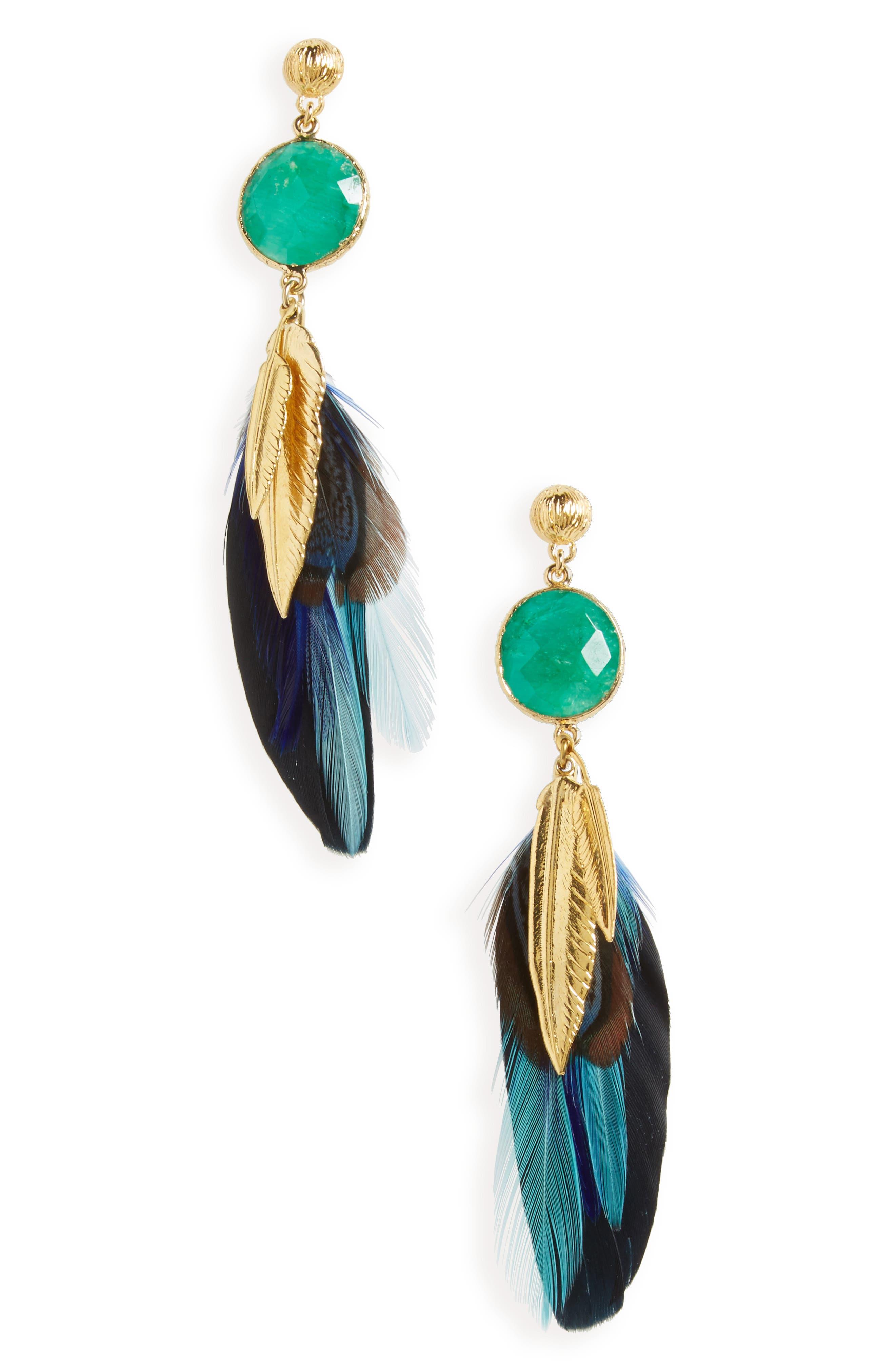 Gas Bijoux Serti Feather Drop Earrings