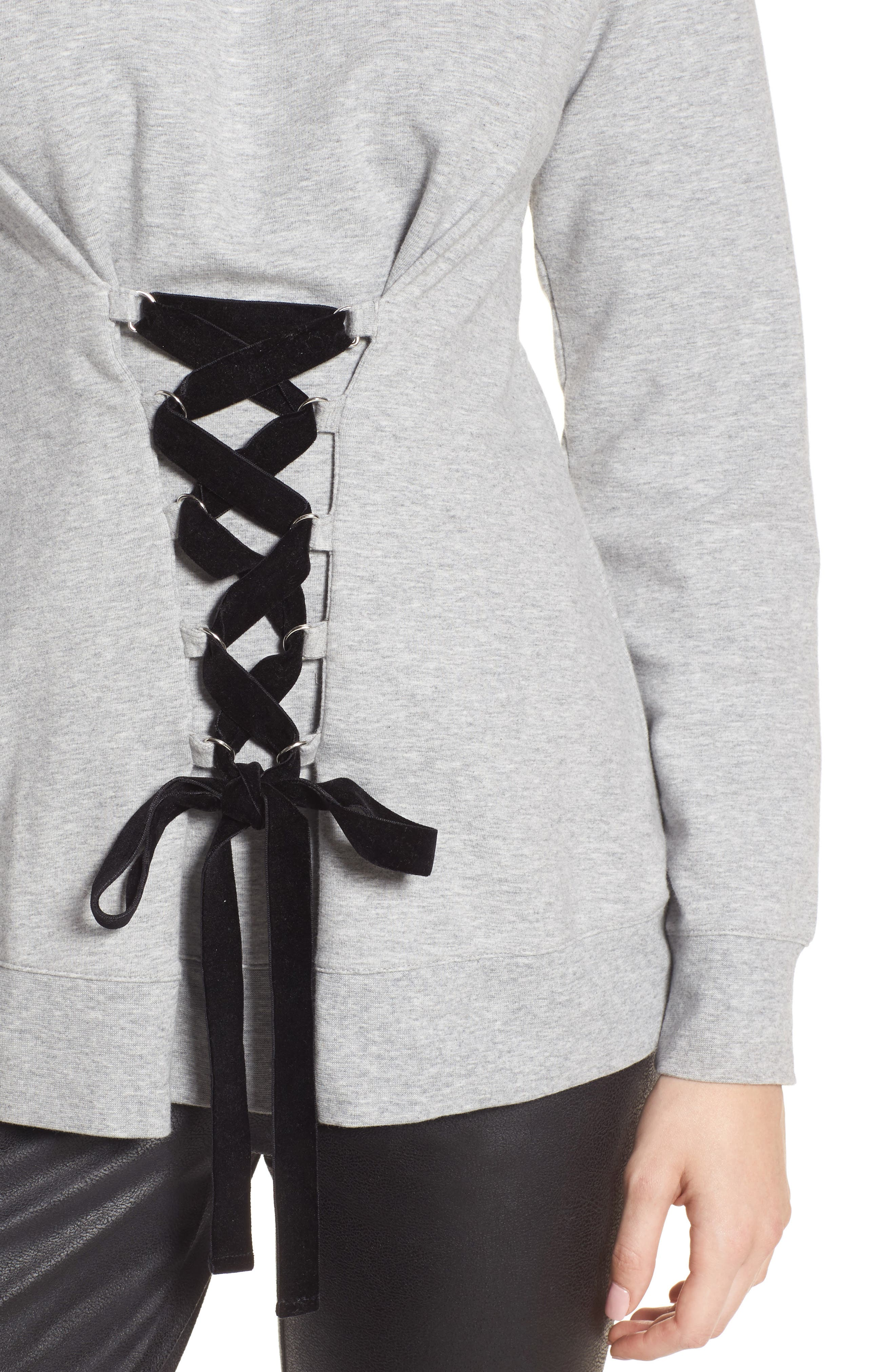 Lace-Up Sweatshirt,                             Alternate thumbnail 4, color,                             Grey Heather