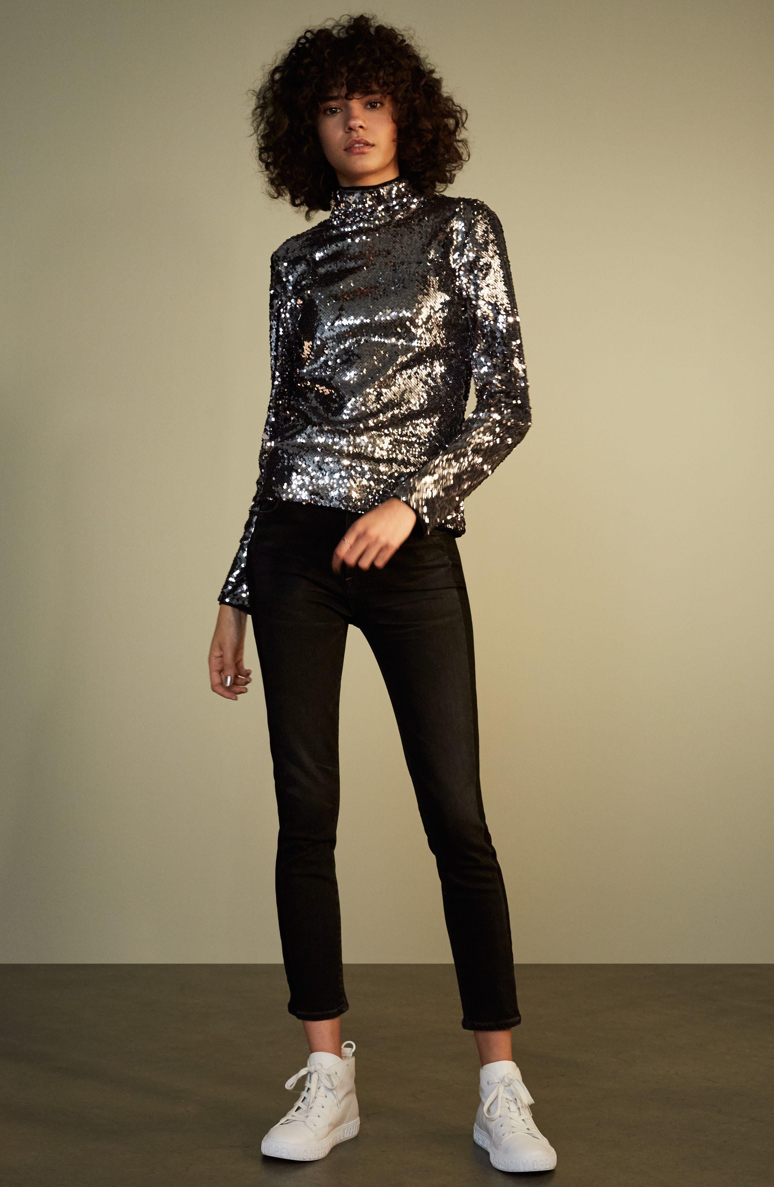 Alternate Image 2  - Citizens of Humanity Rocket High Waist Crop Skinny Jeans (Shadow Stripe Darkness)