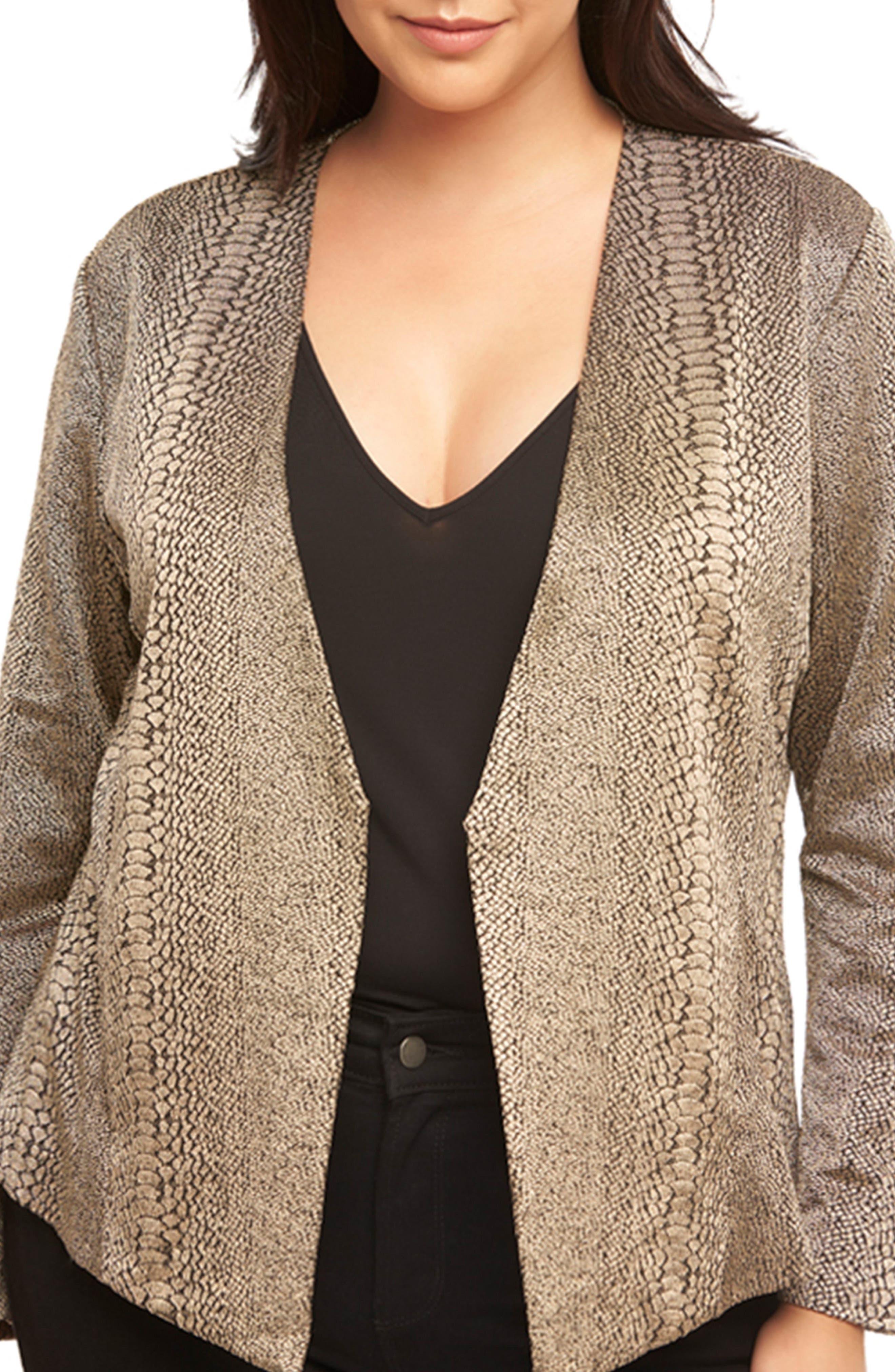 Alternate Image 6  - Tart Sun Blazer Snake Print Jacket (Plus Size)