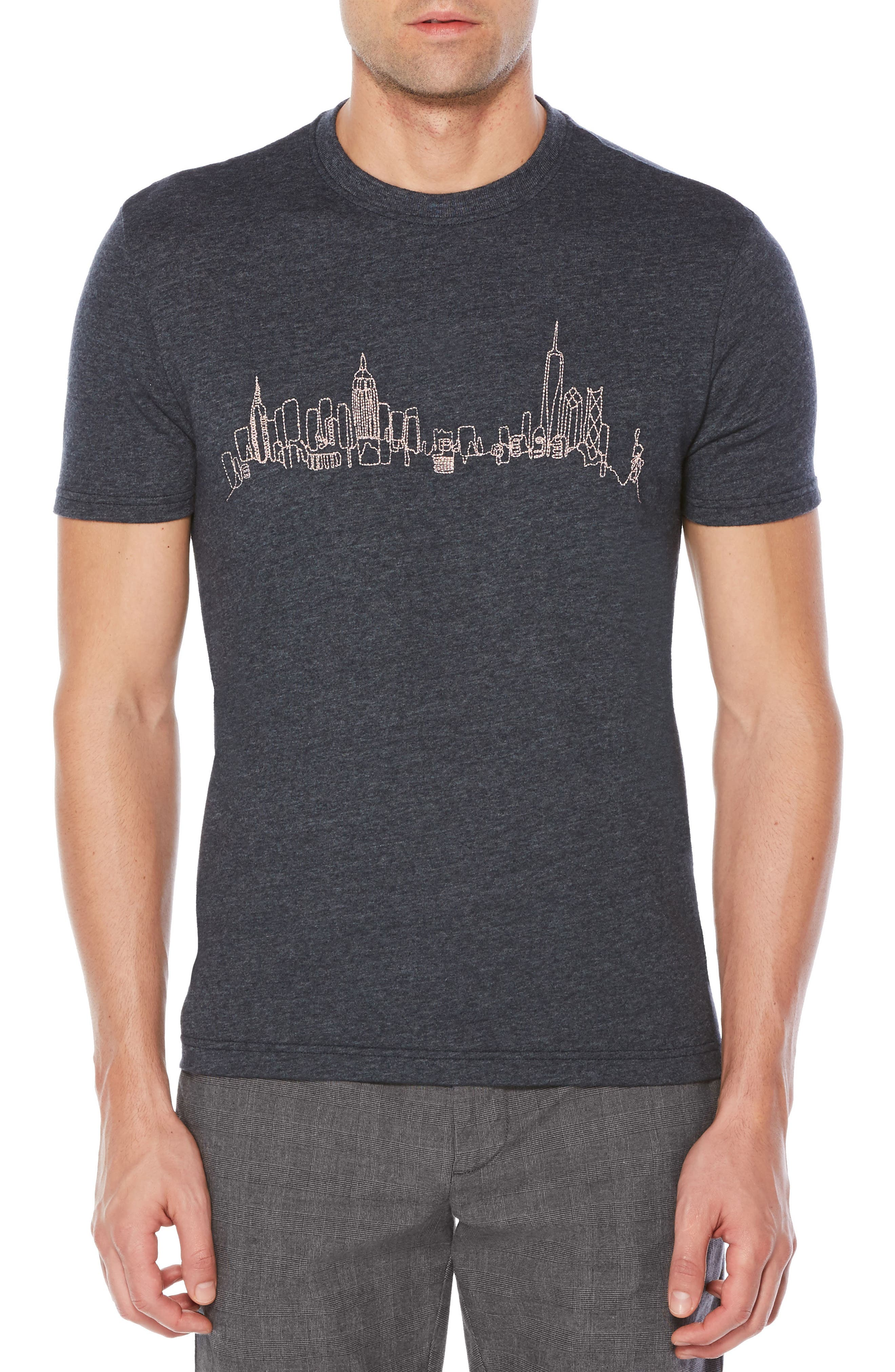 Embroidered NYC Skyline T-Shirt,                         Main,                         color, Dark Sapphire