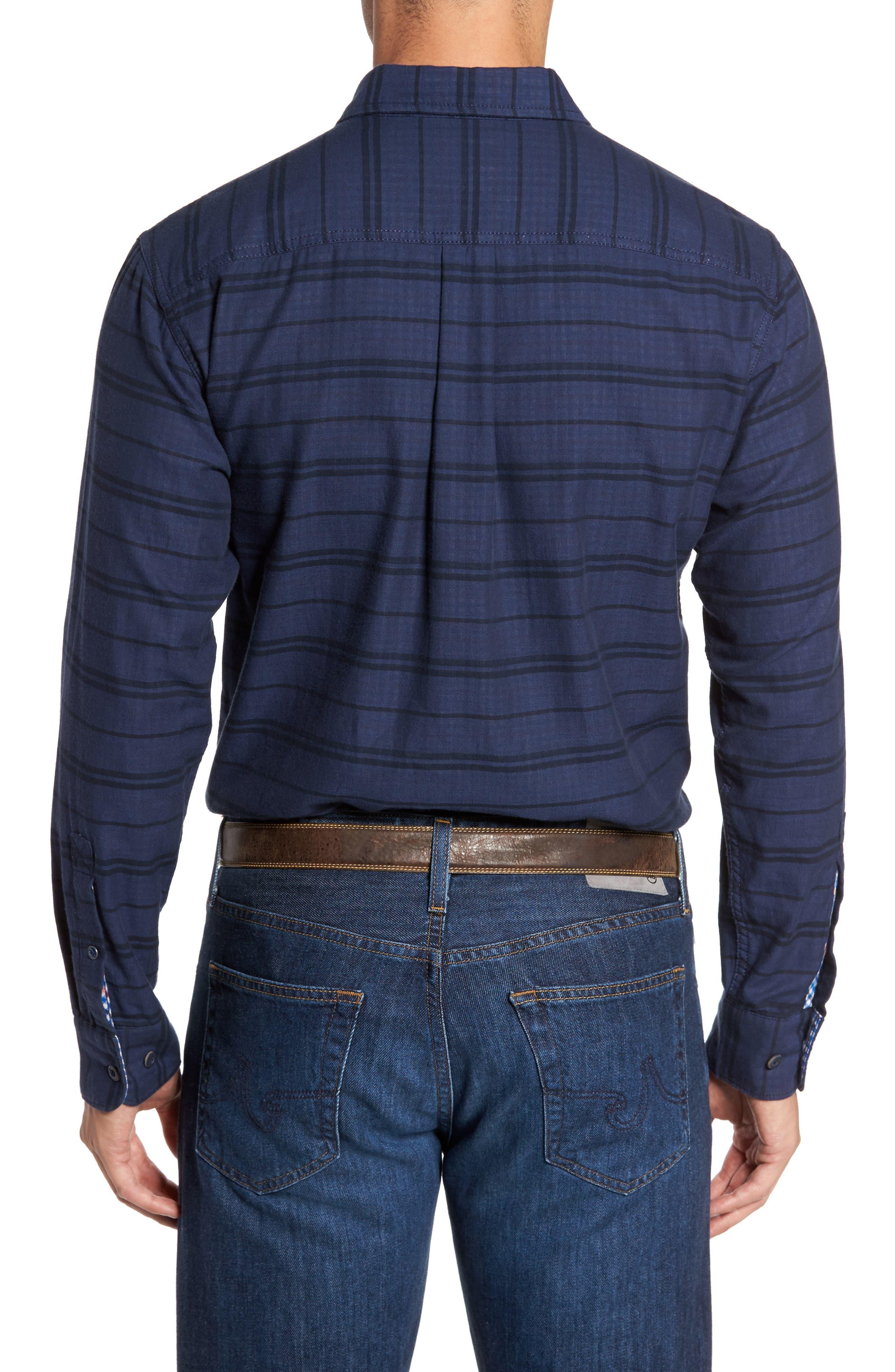 Tan Tan Stripe Standard Fit Sport Shirt,                             Alternate thumbnail 2, color,                             Deep Tahoe