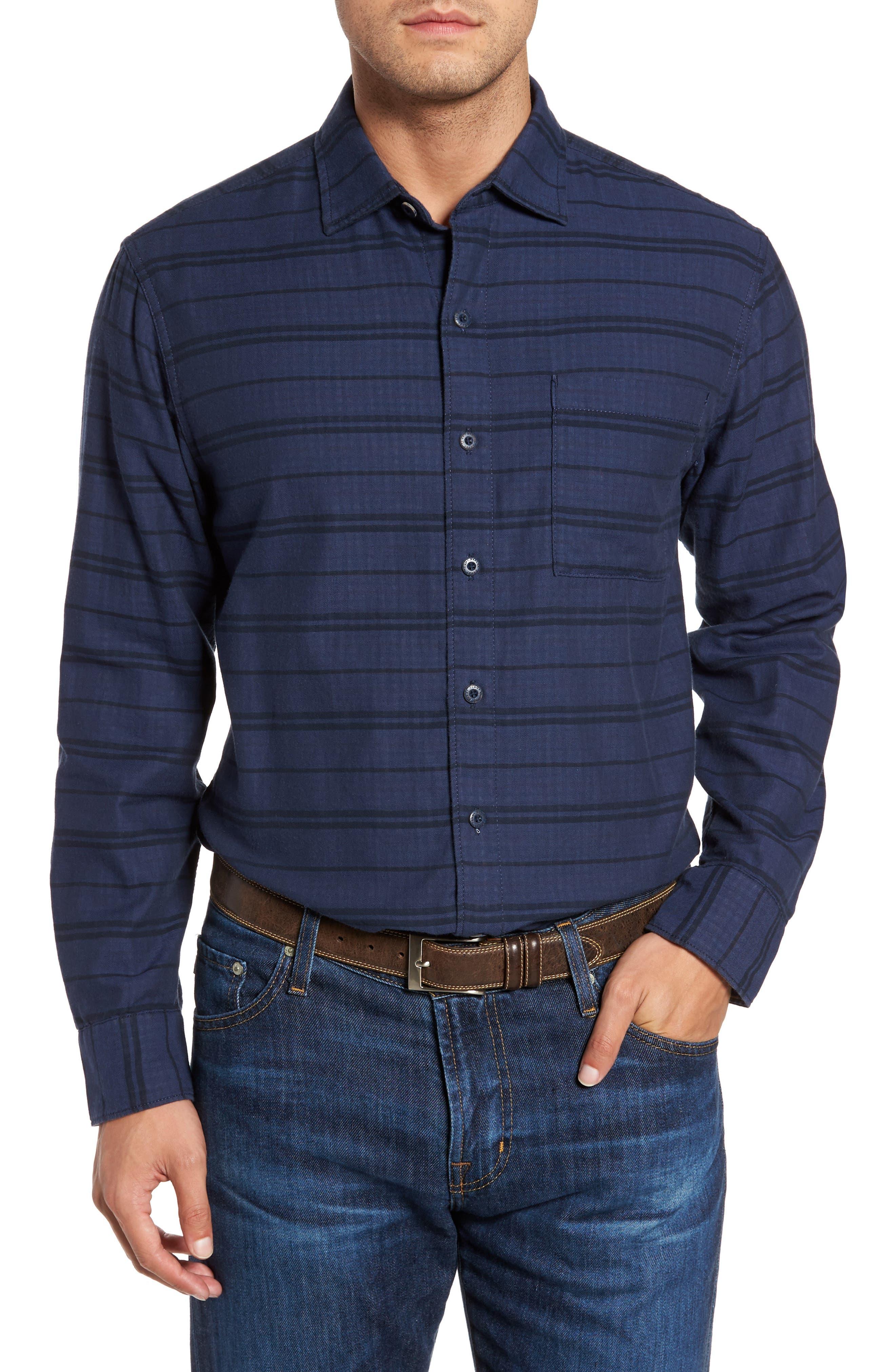 Tan Tan Stripe Standard Fit Sport Shirt,                         Main,                         color, Deep Tahoe
