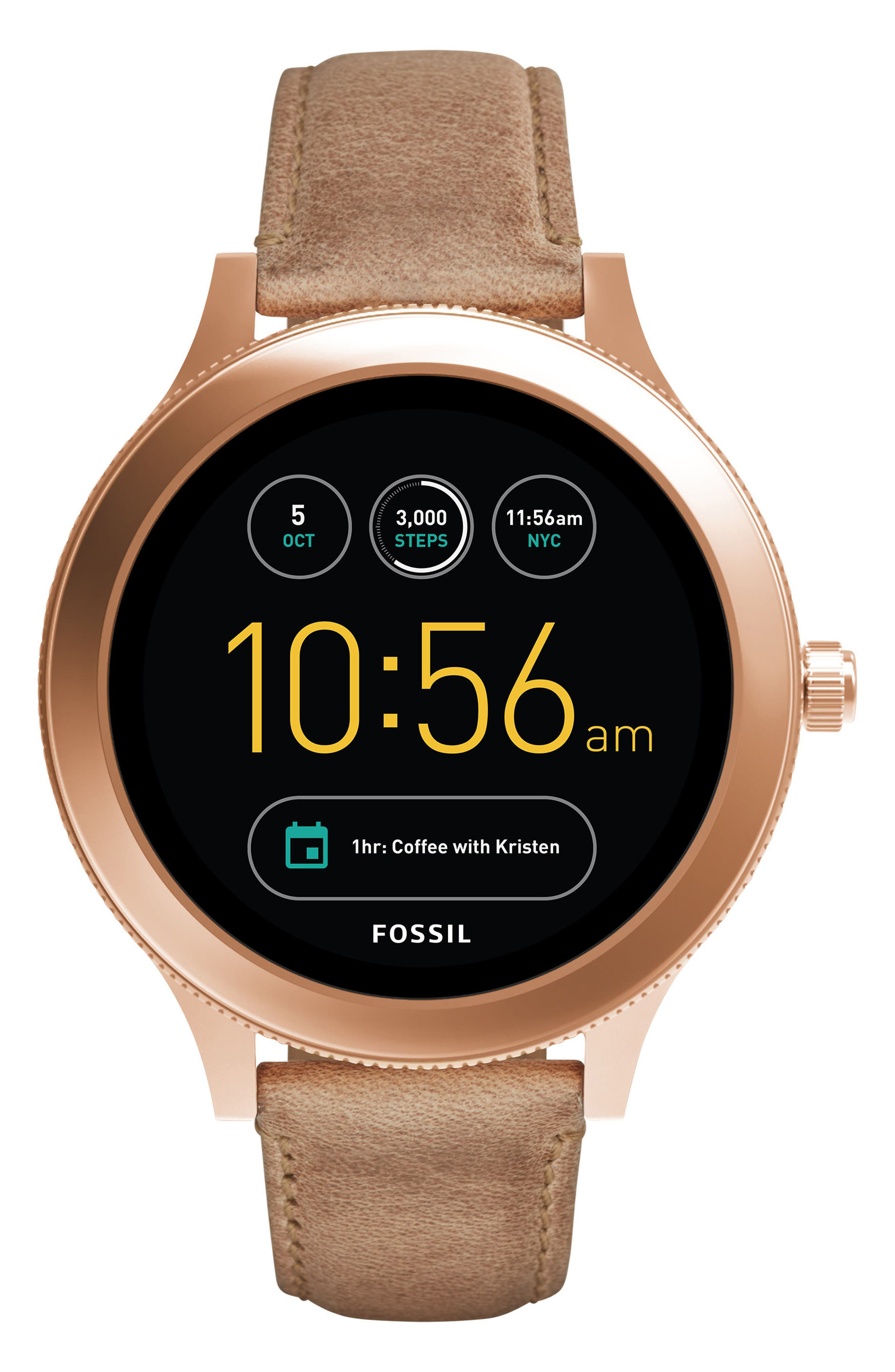 Main Image - Fossil Q Venture Gen 3 Leather Strap Smartwatch, 42mm
