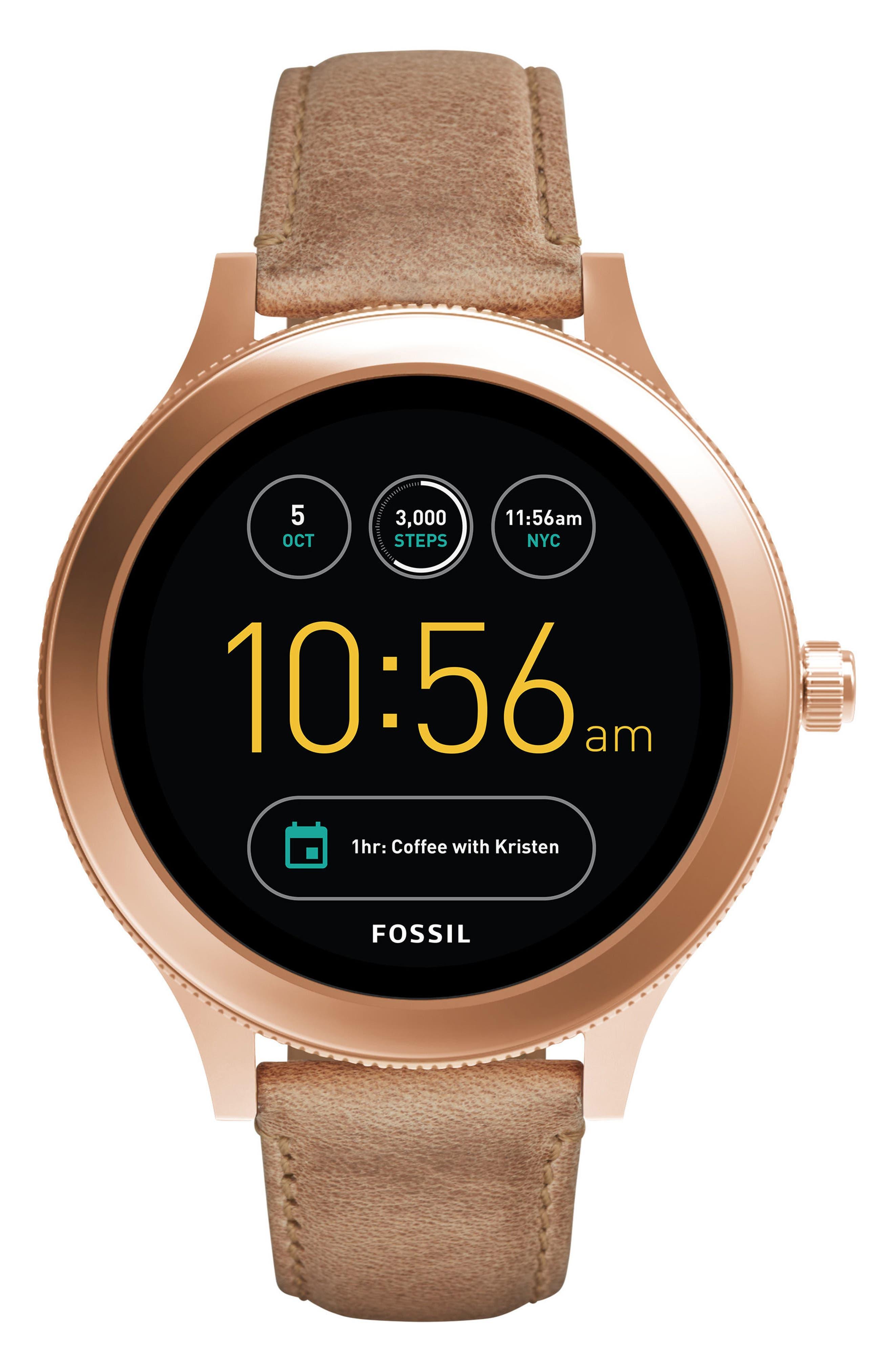 Venture Gen 3 Leather Strap Smartwatch, 42mm,                         Main,                         color, Sand/ Rose Gold