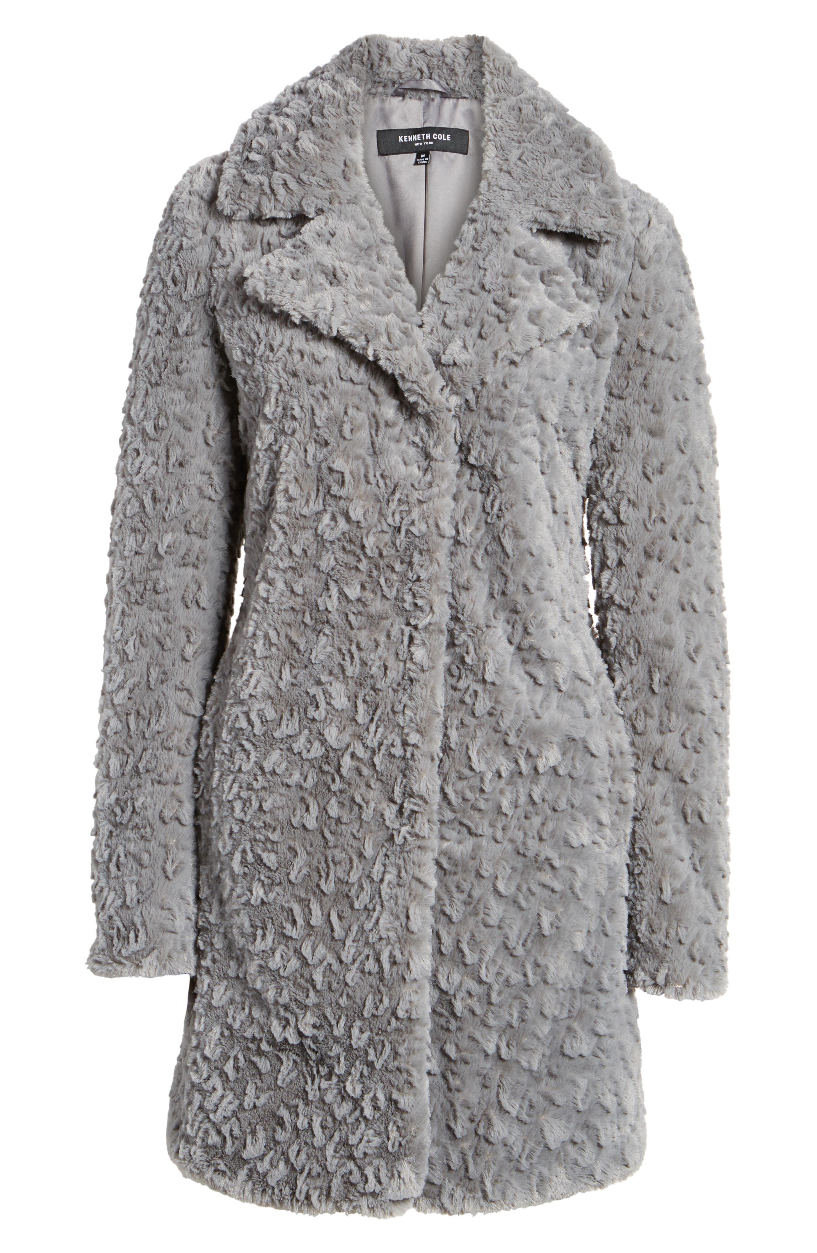 Faux Fur Coat,                             Alternate thumbnail 6, color,                             Grey