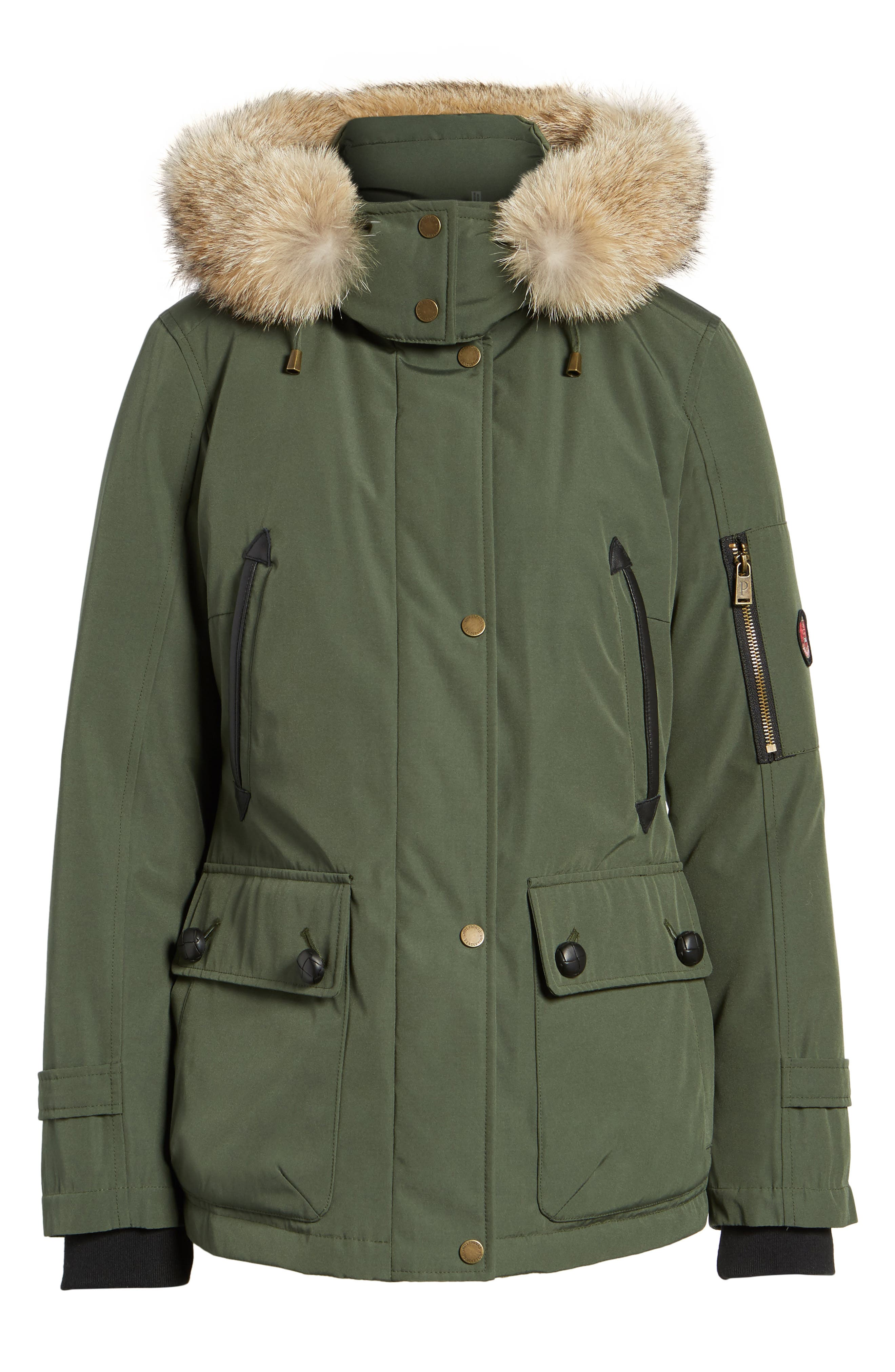 Bachelor Water Repellent Hooded Down Parka with Genuine Coyote Fur Trim,                             Alternate thumbnail 6, color,                             Olive