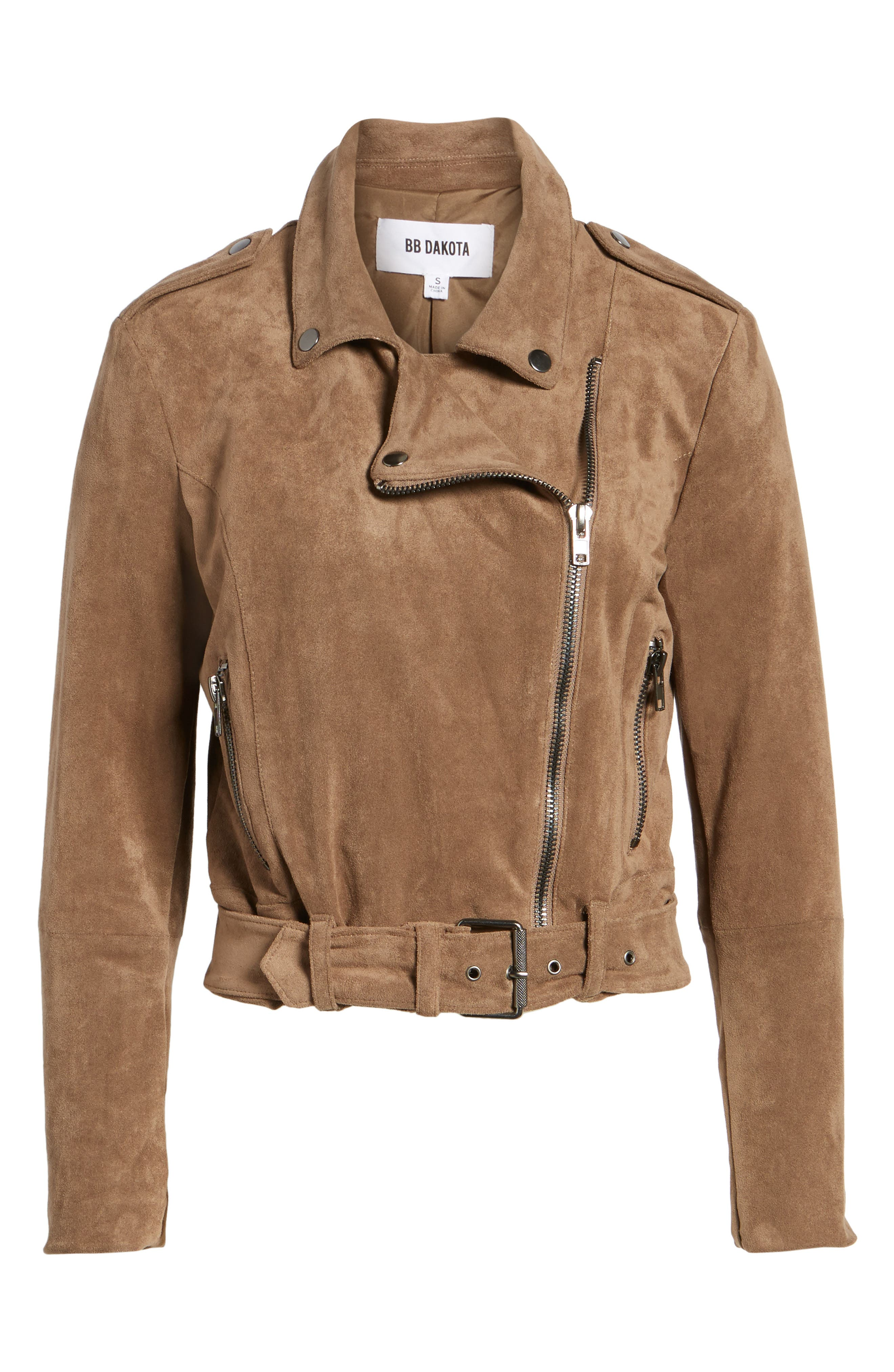 Waller Faux Suede Moto Jacket,                             Alternate thumbnail 6, color,                             Mocha
