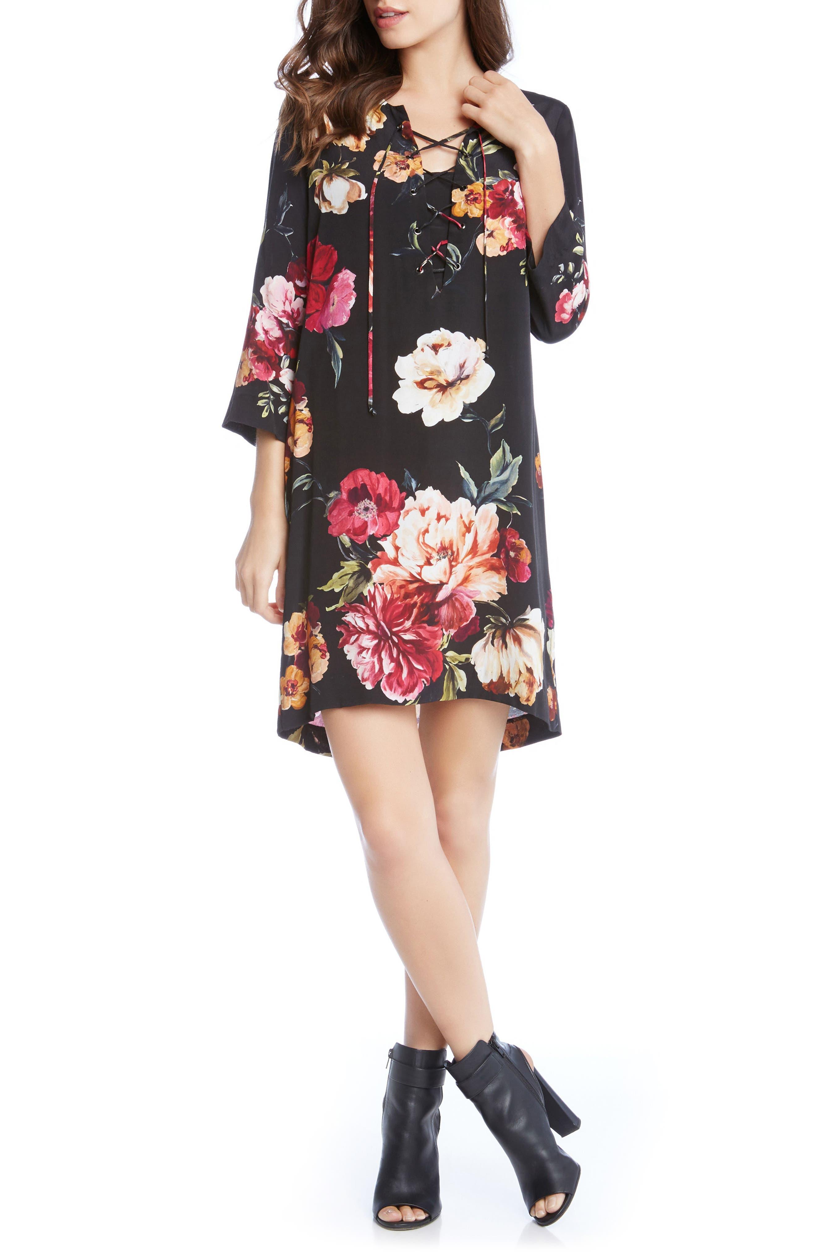 Floral Lace-Up Shift Dress,                             Alternate thumbnail 3, color,                             Print