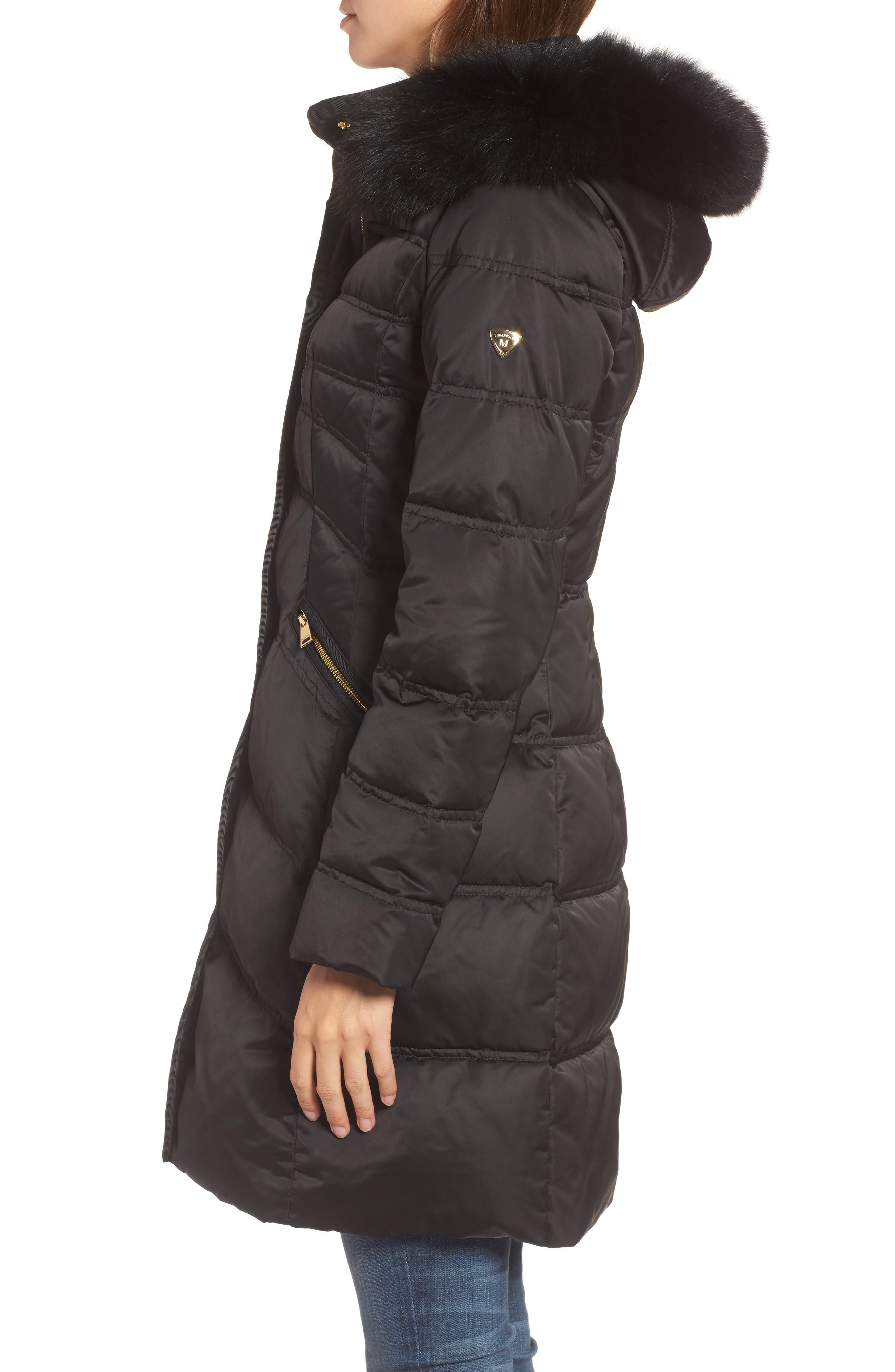 Insulated Parka with Genuine Fox Fur Trim,                             Alternate thumbnail 3, color,                             Black