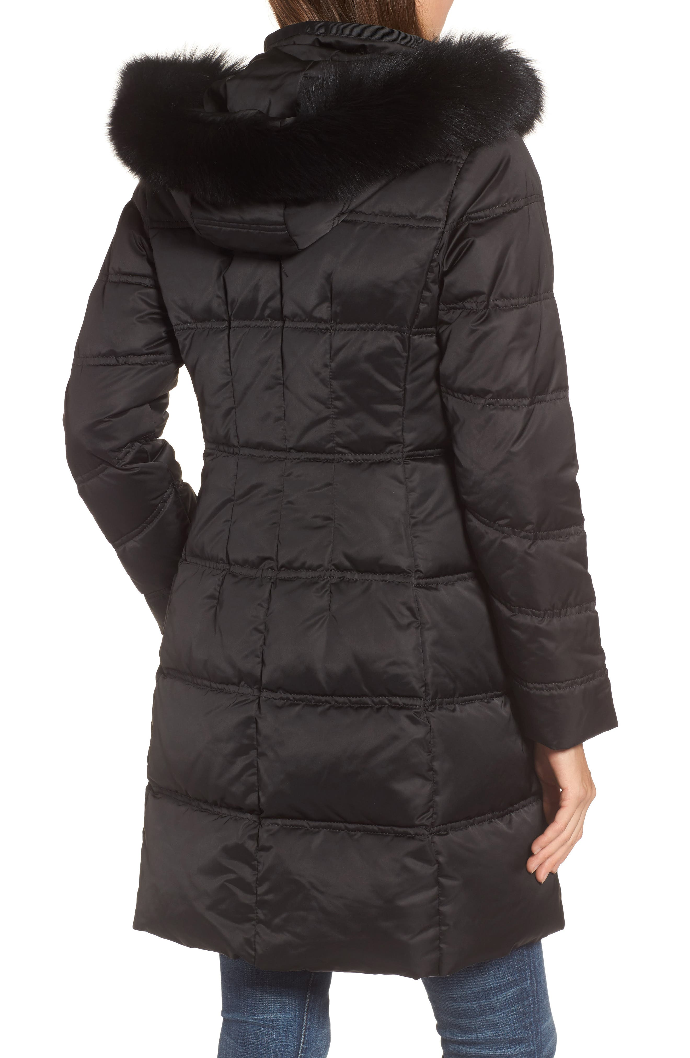 Insulated Parka with Genuine Fox Fur Trim,                             Alternate thumbnail 2, color,                             Black