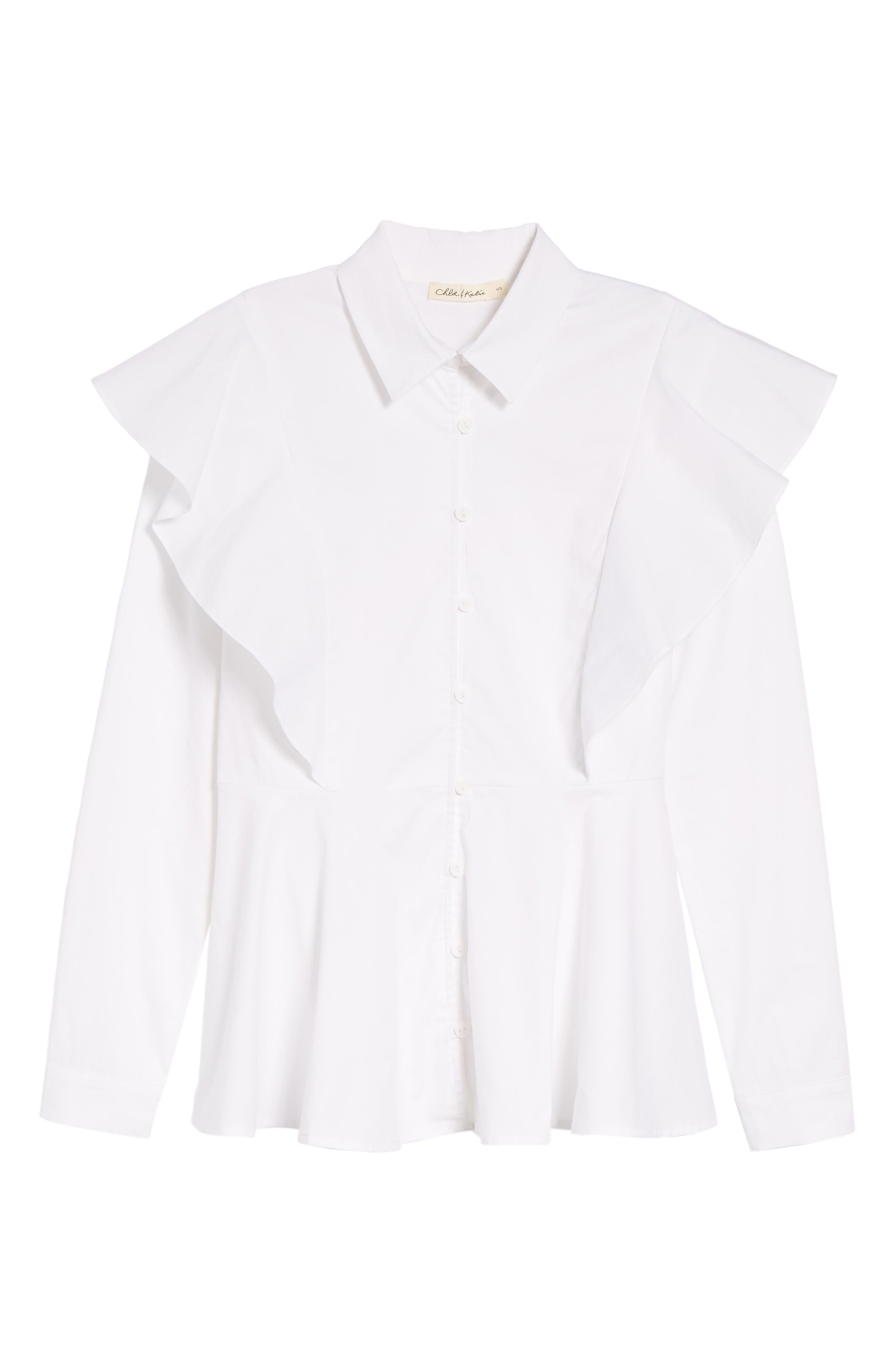 Ruffle Shoulder Peplum Top,                             Alternate thumbnail 6, color,                             White