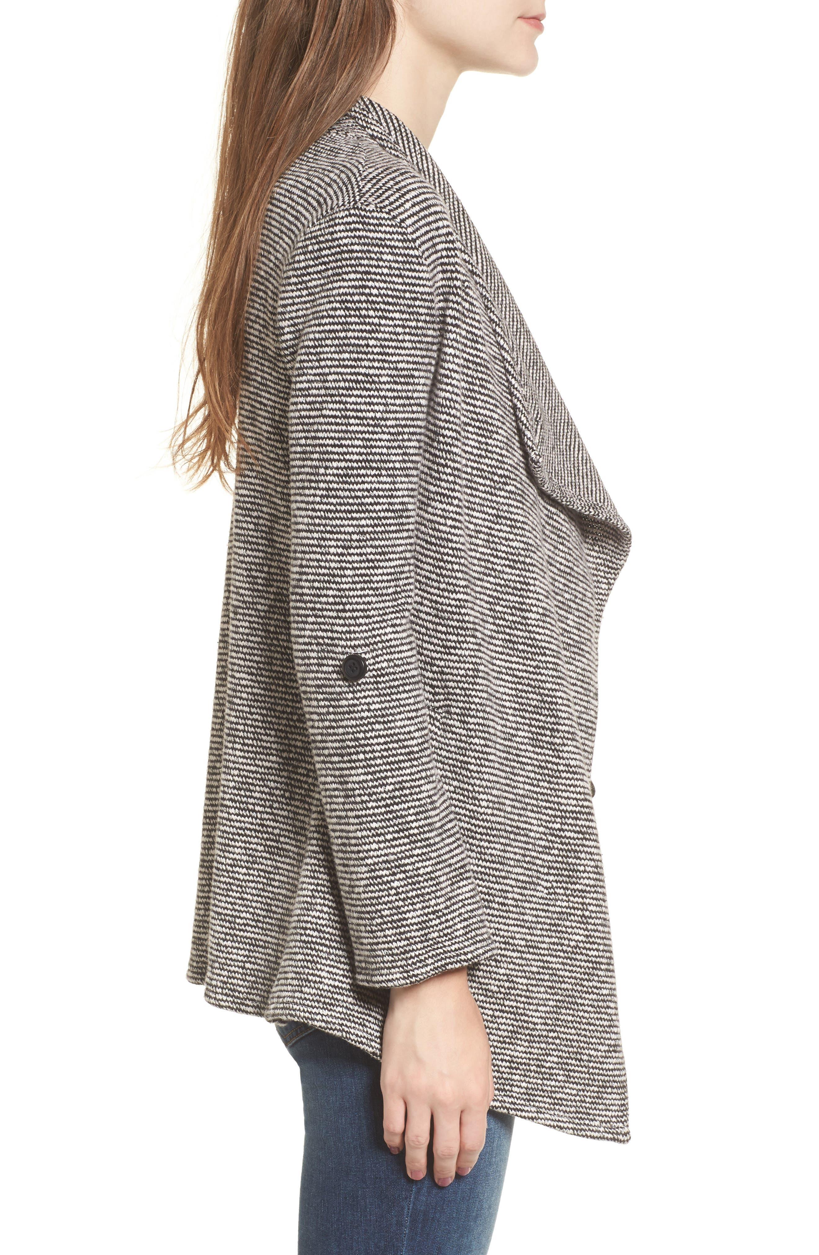 Micro Stripe Knit Drape Jacket,                             Alternate thumbnail 4, color,                             Dirty White