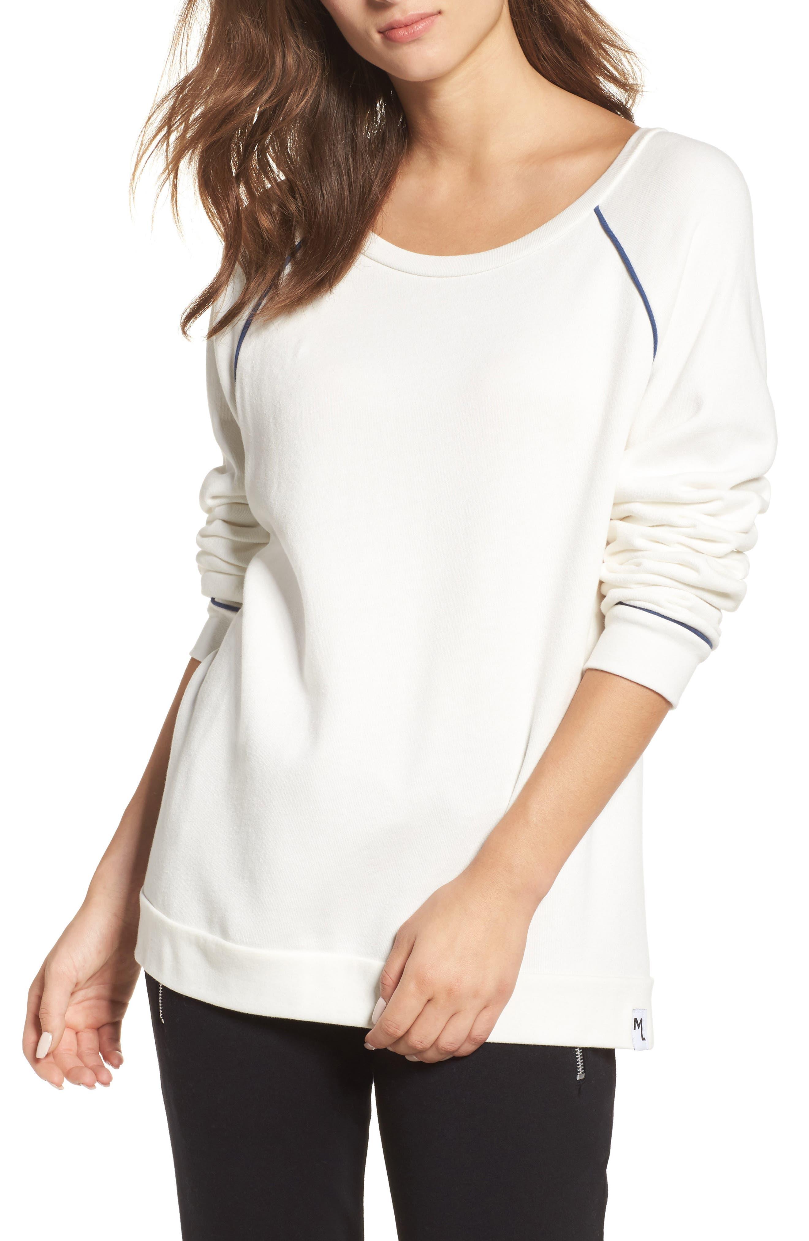 Juniper Lounge Sweatshirt,                             Main thumbnail 1, color,                             Milk/ Ink Blue