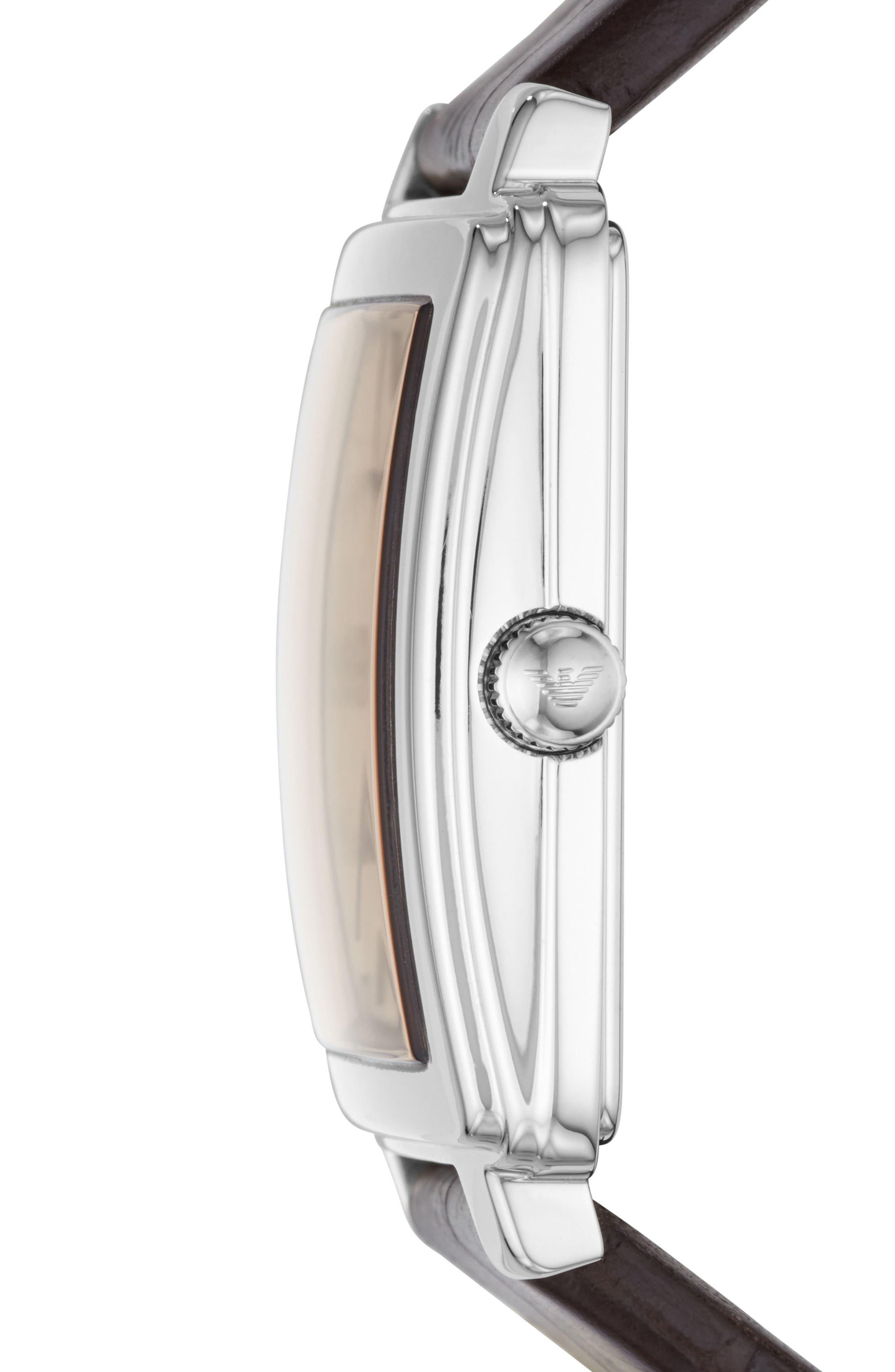 Alternate Image 2  - Emporio Armani Square Leather Strap Watch, 38mm